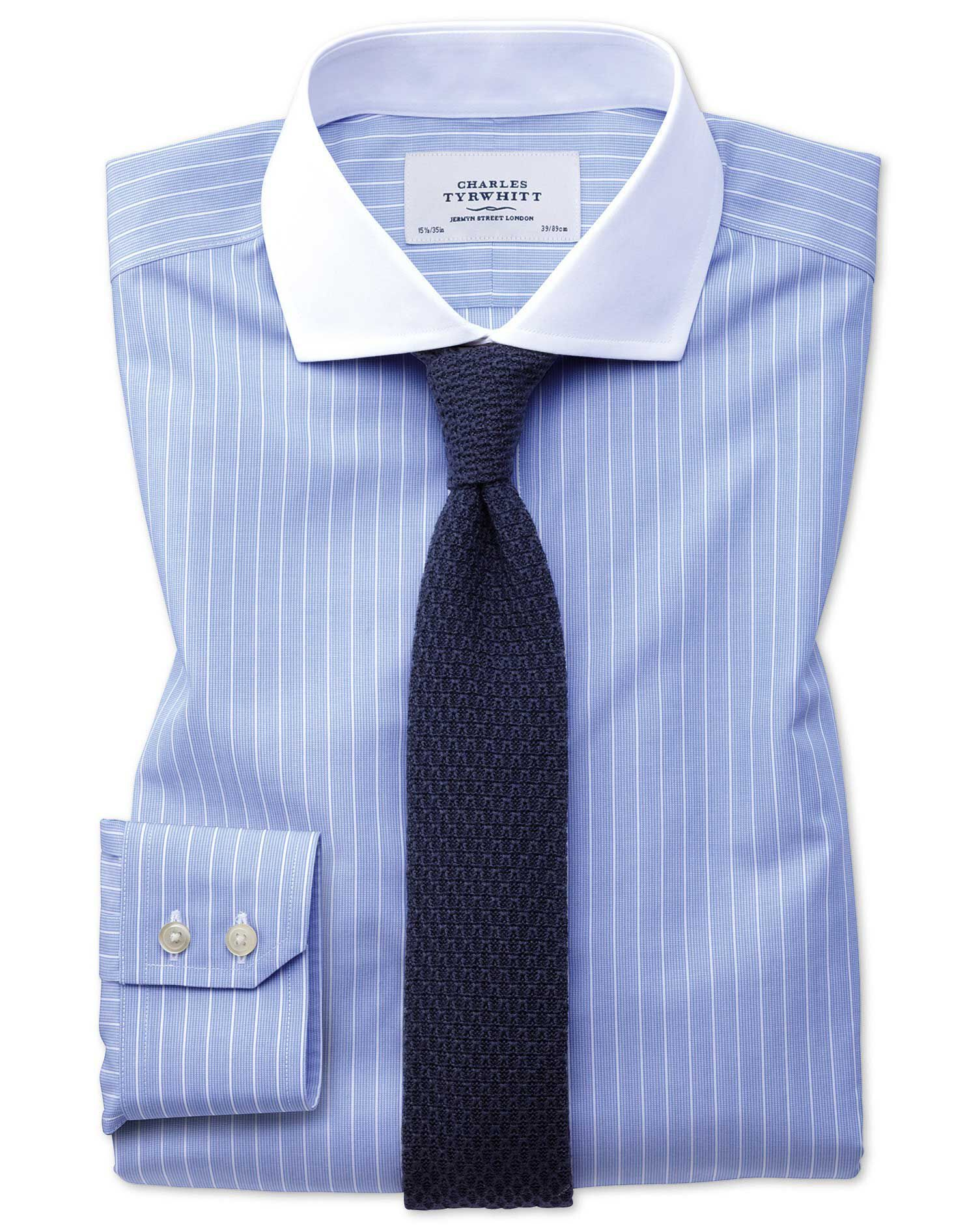 Extra Slim Fit Cutaway Non-Iron Winchester Blue and White Cotton Formal Shirt Double Cuff Size 16.5/