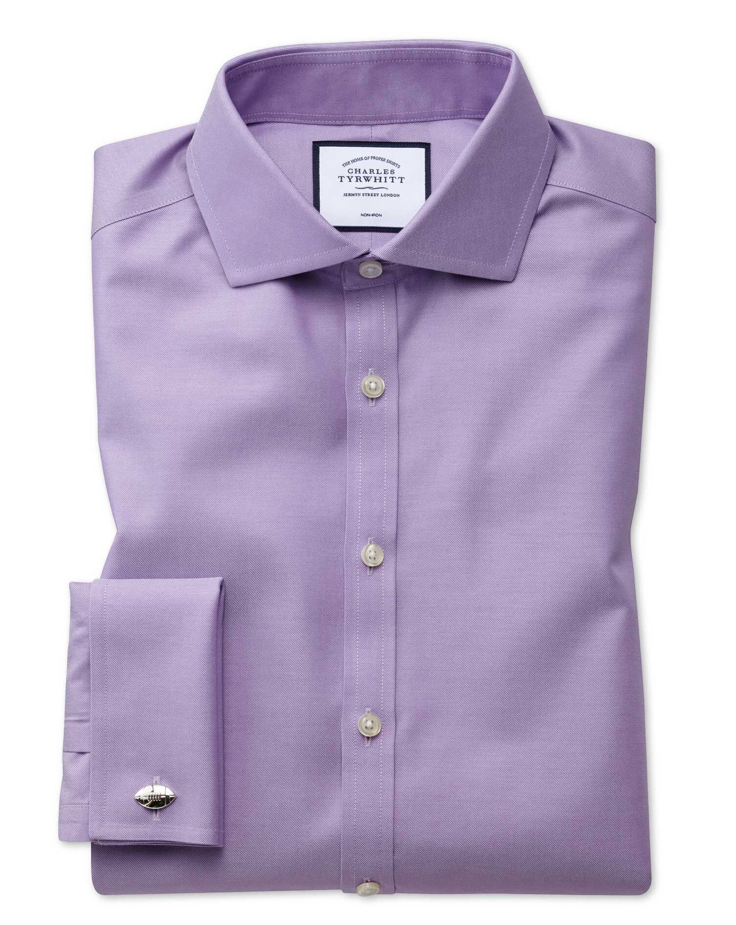 Super Slim Fit Lilac Non-Iron Twill Cotton Formal Shirt Double Cuff Size 14/33 by Charles Tyrwhitt