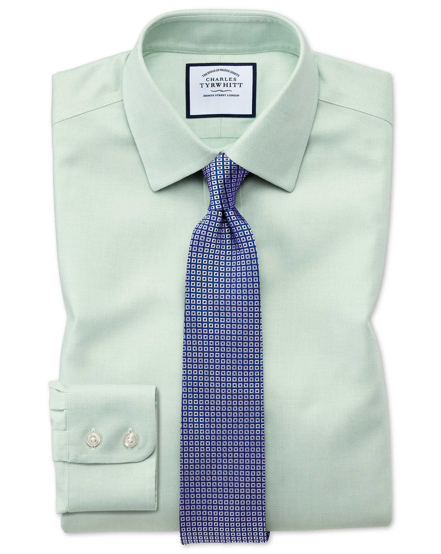 Classic Fit Non-Iron Step Weave Green Cotton Formal Shirt Double Cuff Size 20/37 by Charles Tyrwhitt