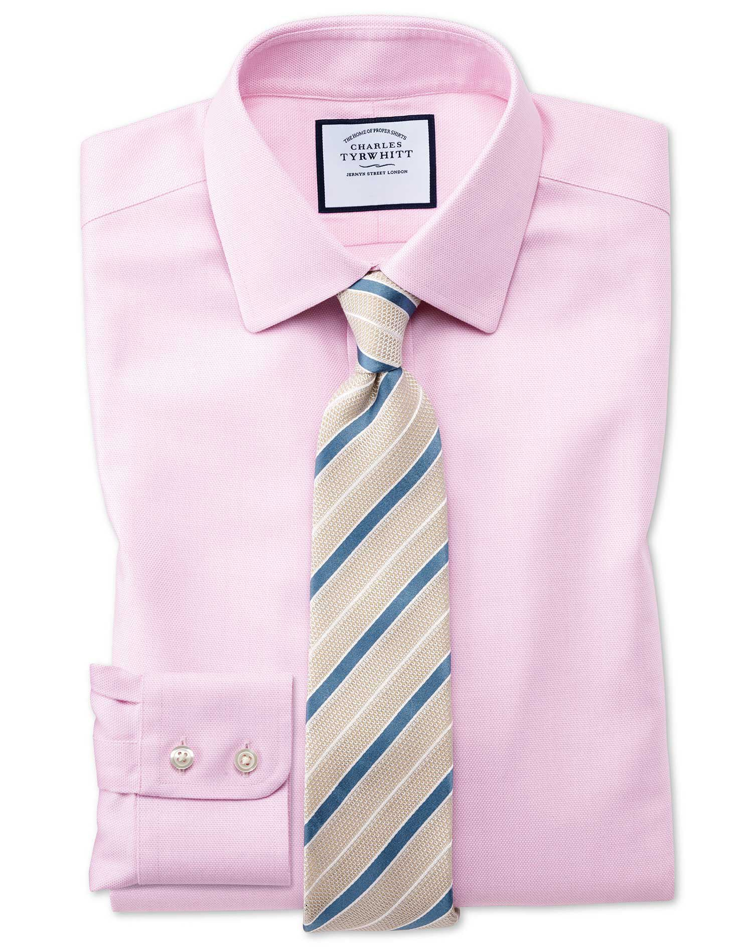 Slim Fit Non-Iron Step Weave Pink Cotton Formal Shirt Double Cuff Size 16.5/33 by Charles Tyrwhitt