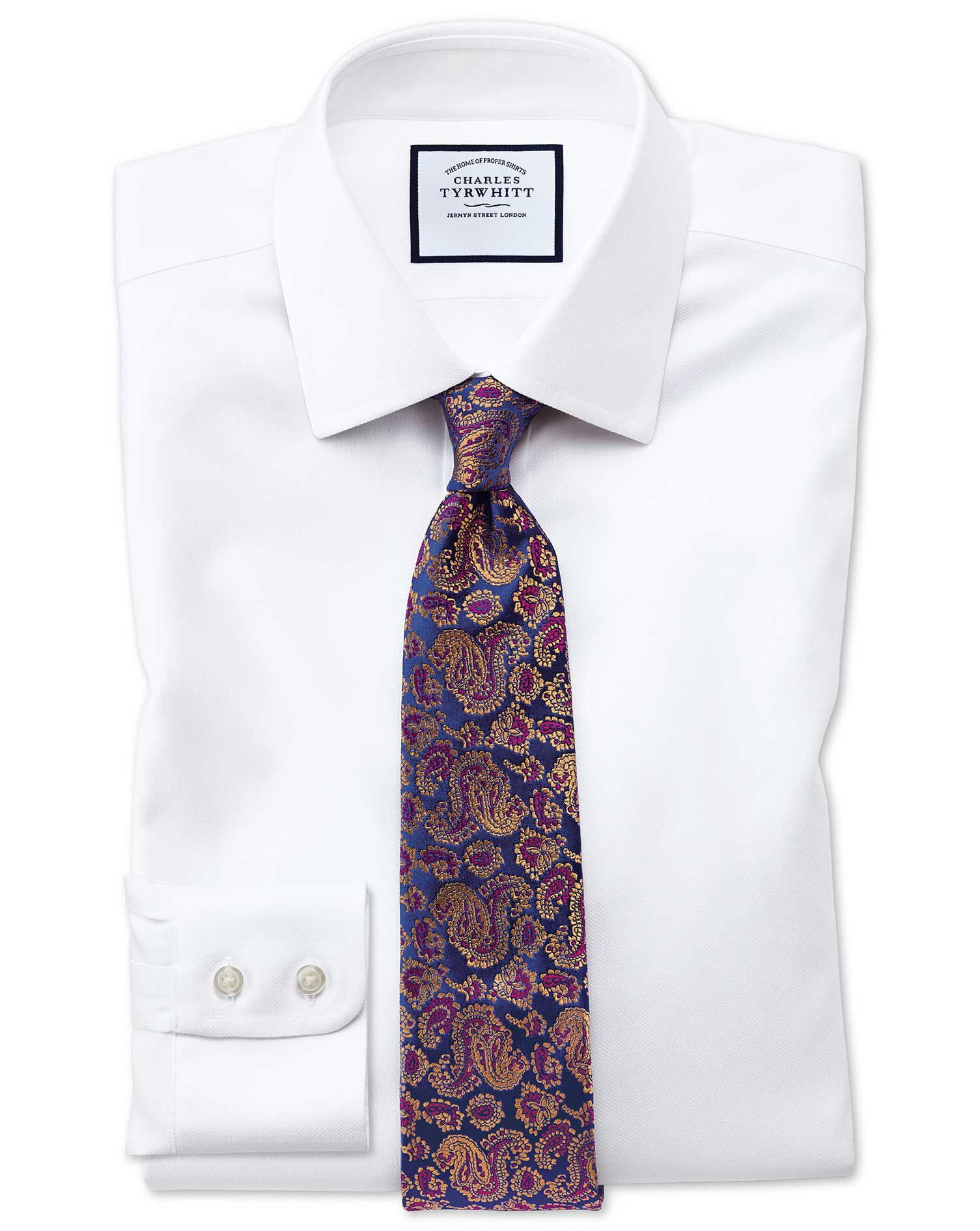 Slim Fit Non-Iron Step Weave White Cotton Formal Shirt Single Cuff Size 17.5/34 by Charles Tyrwhitt