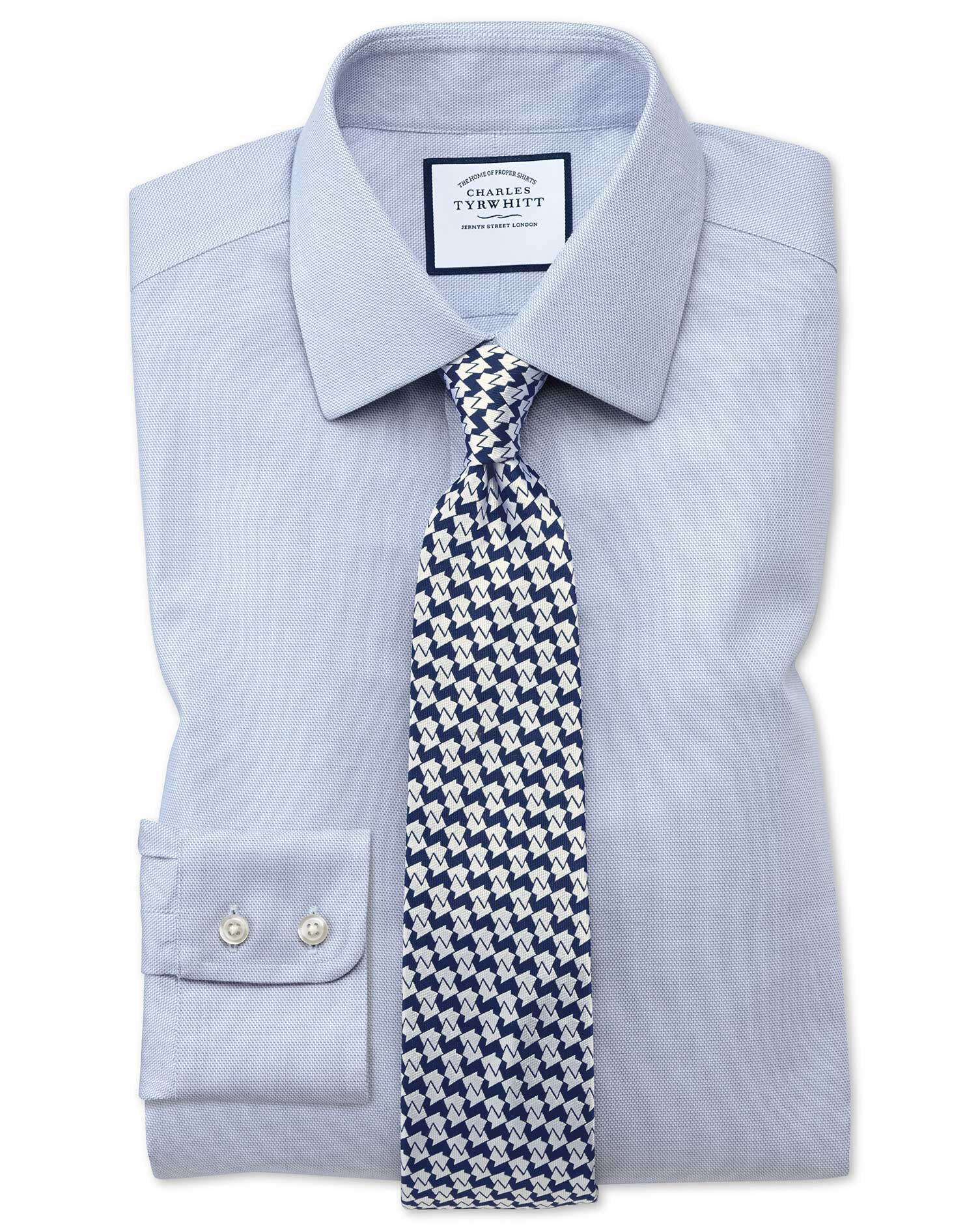 Extra Slim Fit Non-Iron Step Weave Mid Blue Cotton Formal Shirt Double Cuff Size 16.5/34 by Charles