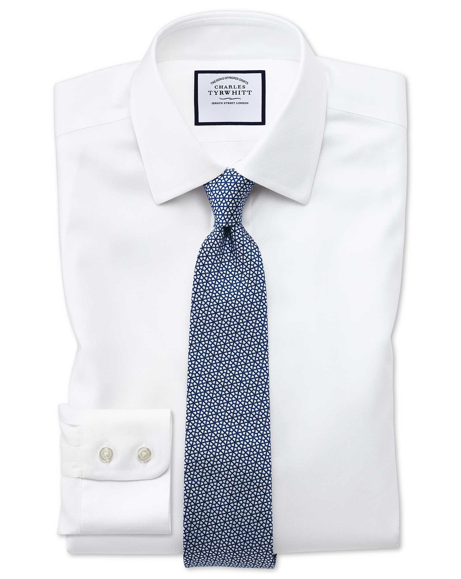 Extra Slim Fit Non-Iron Step Weave White Cotton Formal Shirt Double Cuff Size 17/36 by Charles Tyrwh