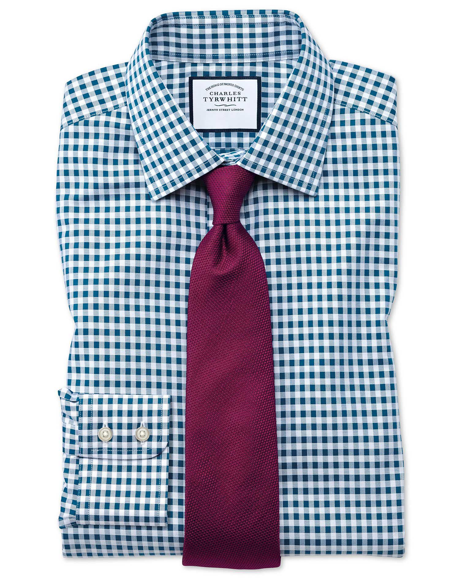Classic Fit Non-Iron Gingham Teal Cotton Formal Shirt Single Cuff Size 17/36 by Charles Tyrwhitt
