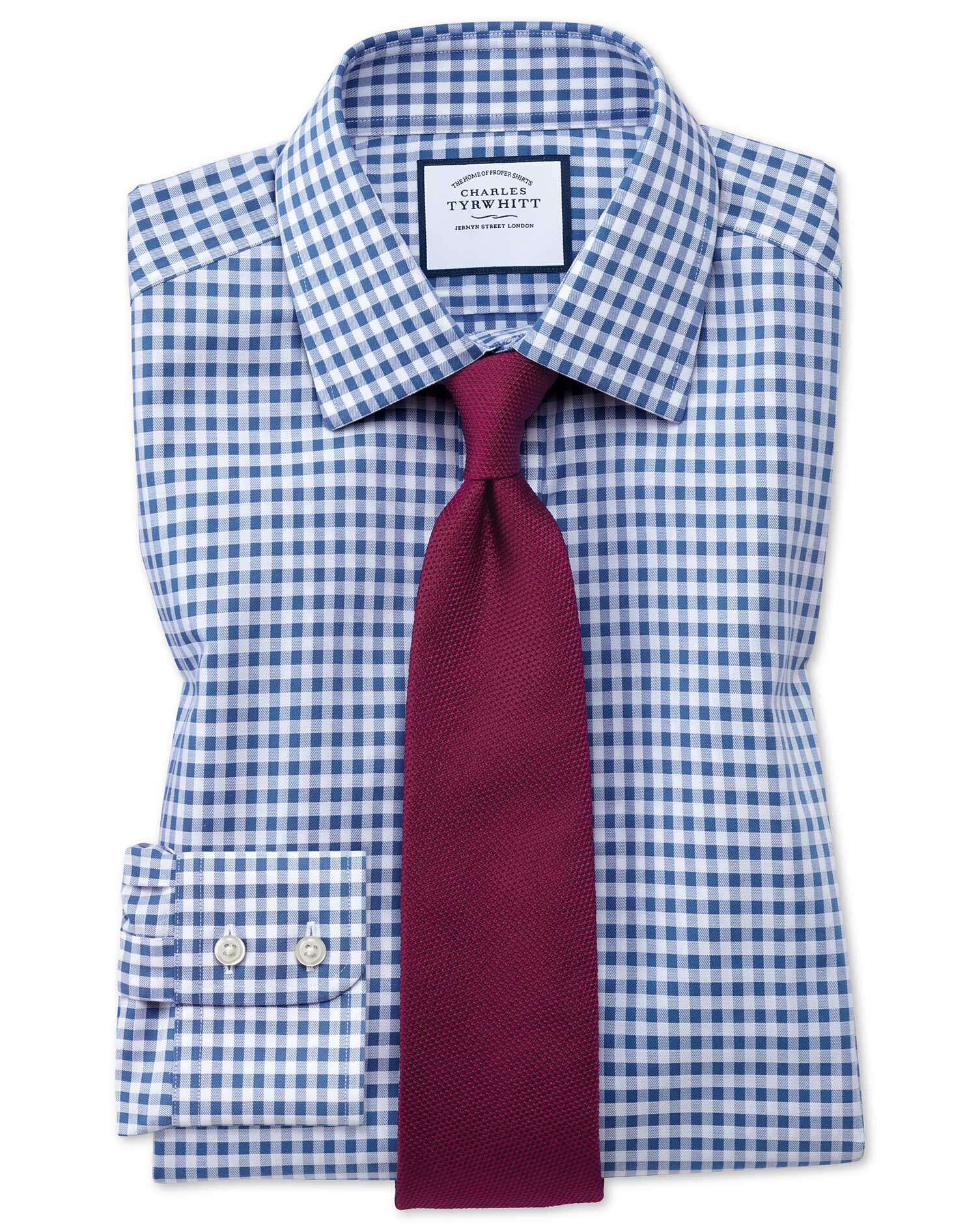 Slim Fit Non-Iron Gingham Mid Blue Cotton Formal Shirt Single Cuff Size 15.5/33 by Charles Tyrwhitt