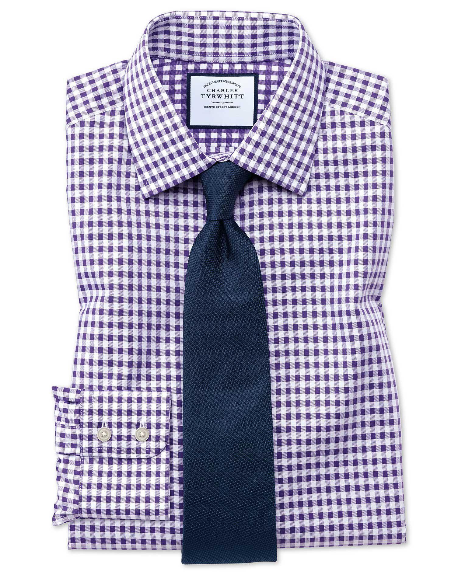 Slim Fit Non-Iron Gingham Purple Cotton Formal Shirt Single Cuff Size 15.5/35 by Charles Tyrwhitt