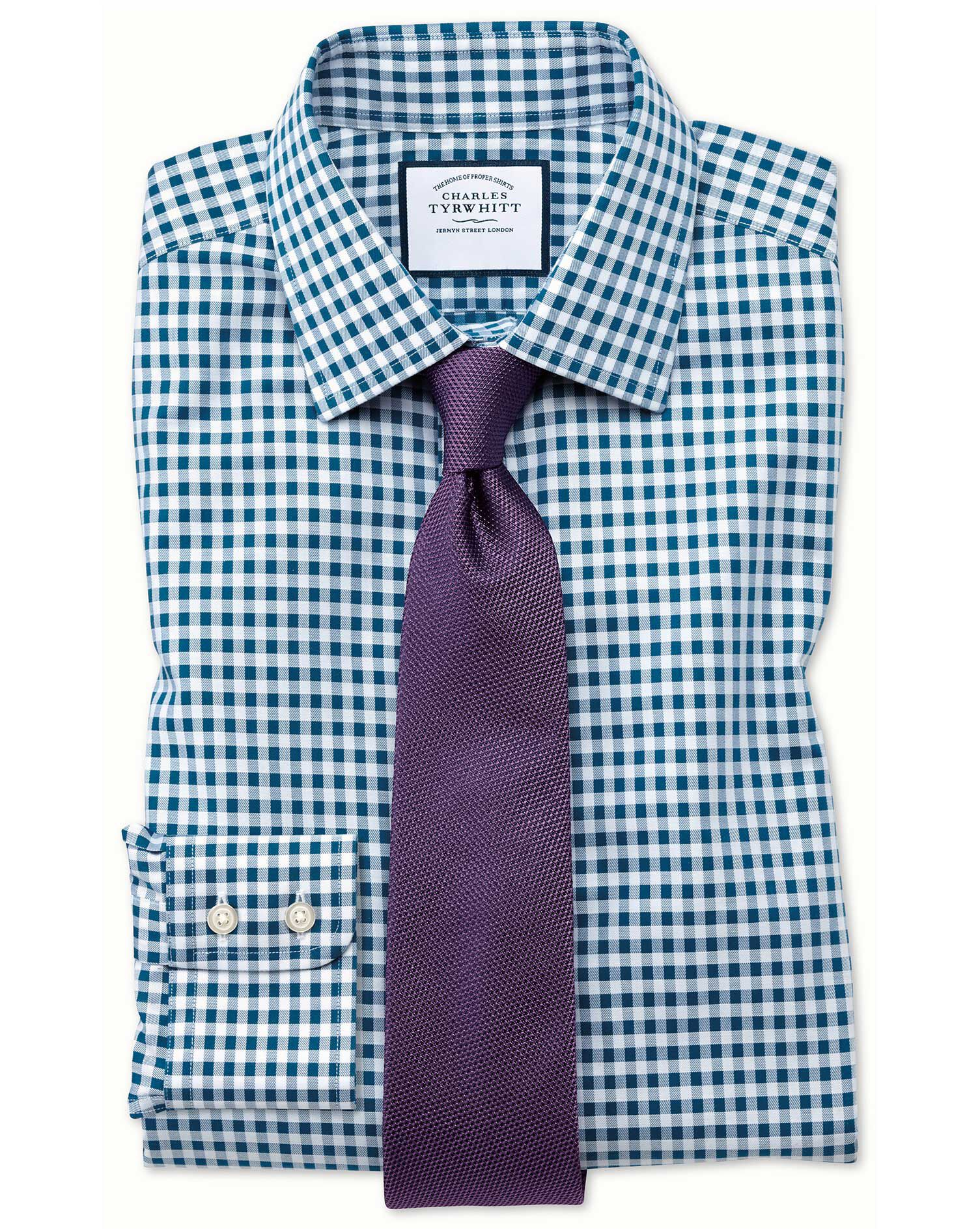 Slim Fit Non-Iron Gingham Teal Cotton Formal Shirt Single Cuff Size 18/35 by Charles Tyrwhitt