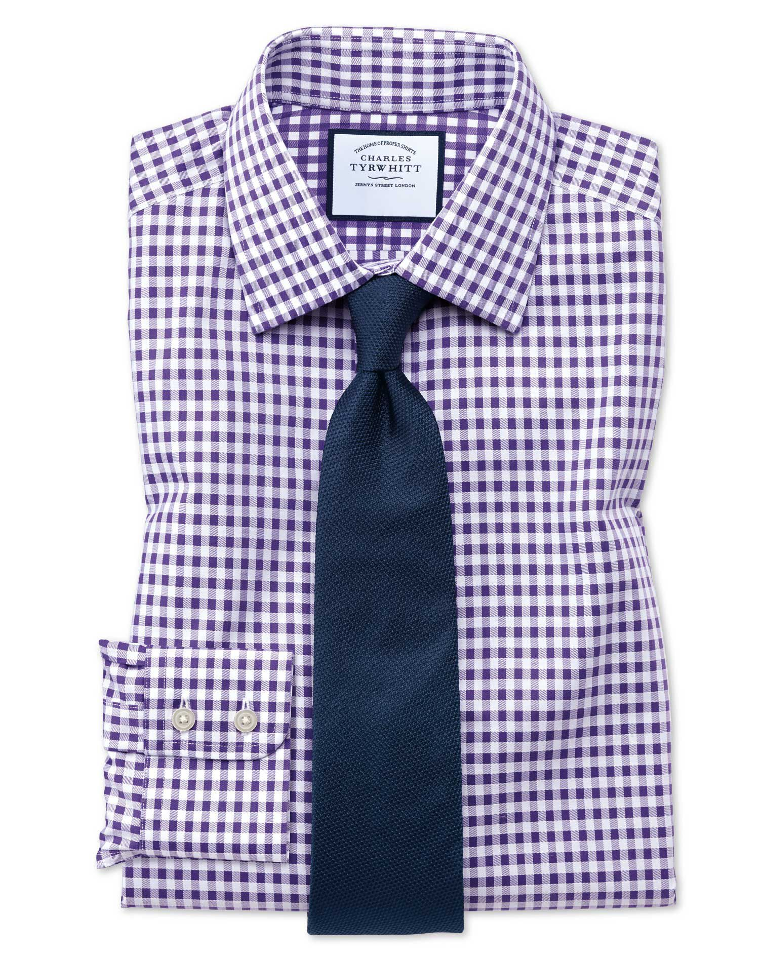 Extra Slim Fit Non-Iron Gingham Purple Cotton Formal Shirt Single Cuff Size 15/32 by Charles Tyrwhit