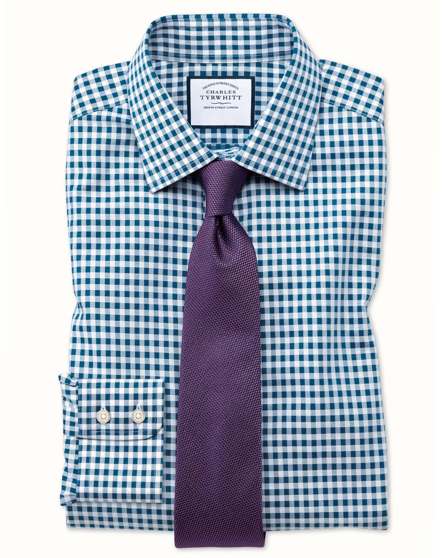 Extra Slim Fit Non-Iron Gingham Teal Cotton Formal Shirt Single Cuff Size 15/34 by Charles Tyrwhitt