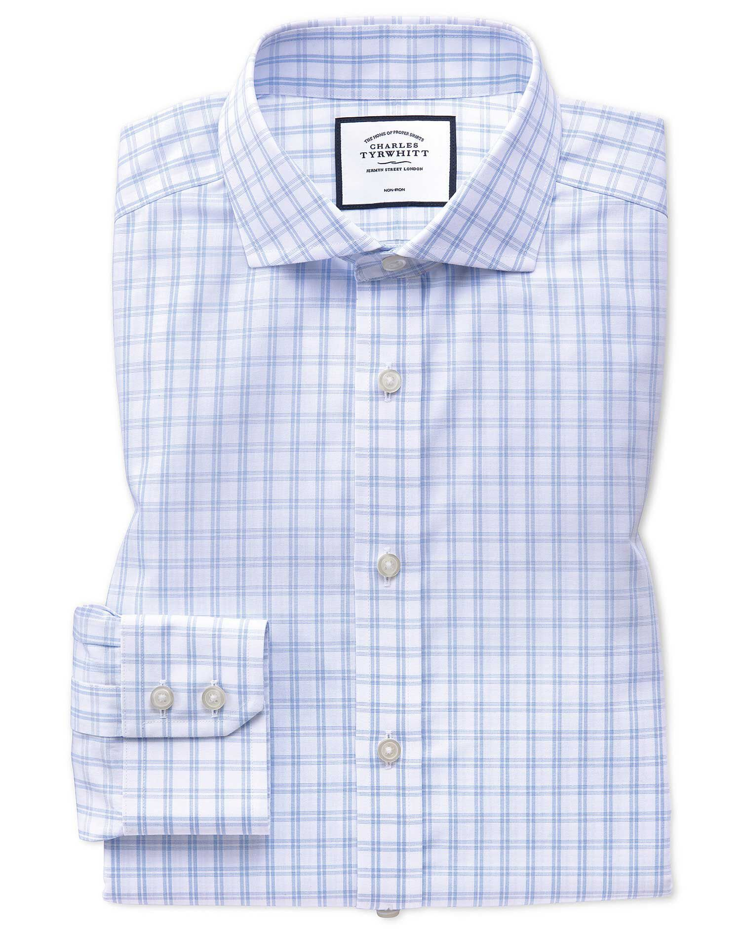 Extra Slim Fit Non-Iron Natural Cool Sky Blue and White Check Cotton Formal Shirt Single Cuff Size 1
