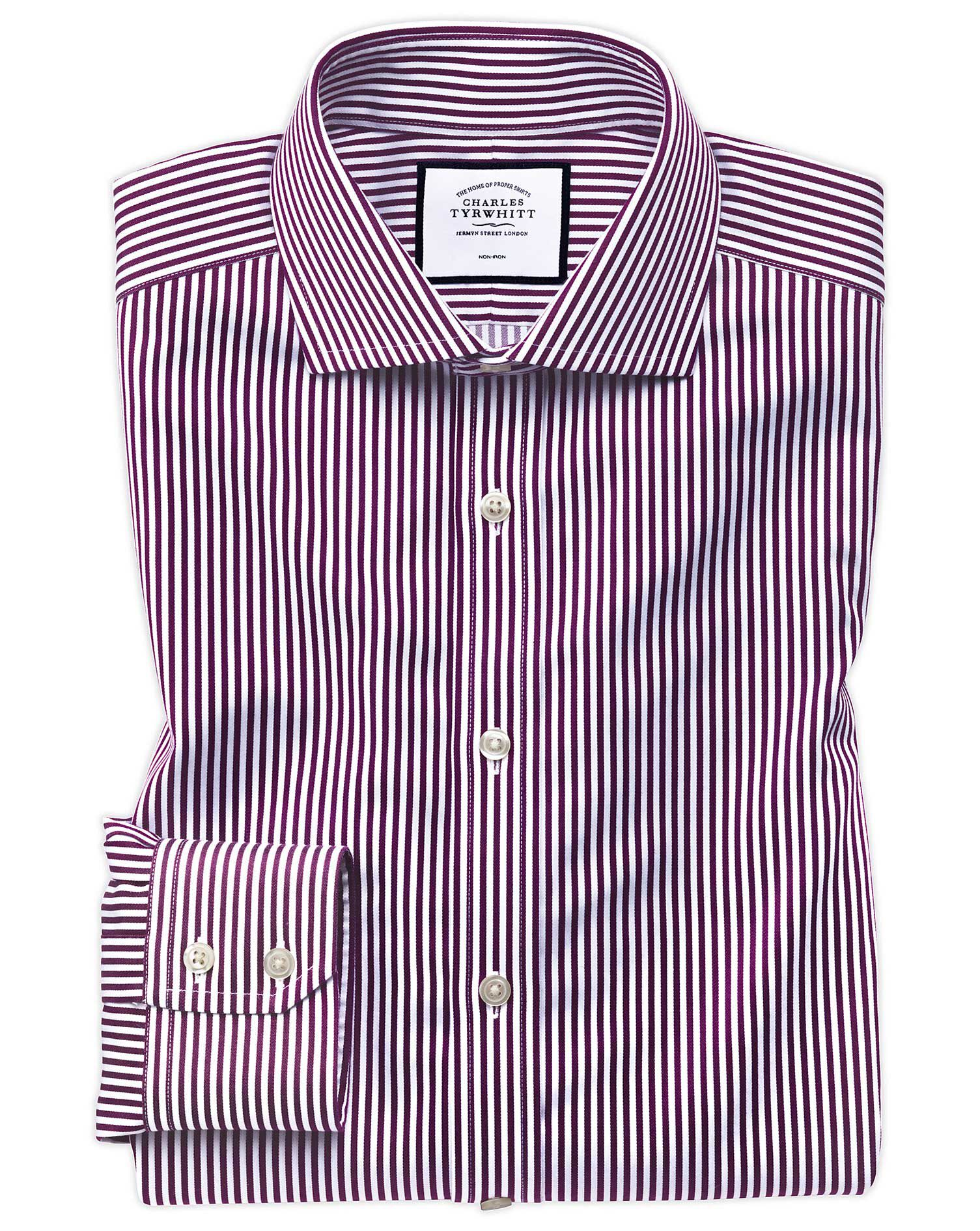 Slim Fit Non-Iron Cutaway Collar Berry Twill Stripe Cotton Formal Shirt Single Cuff Size 15.5/32 by