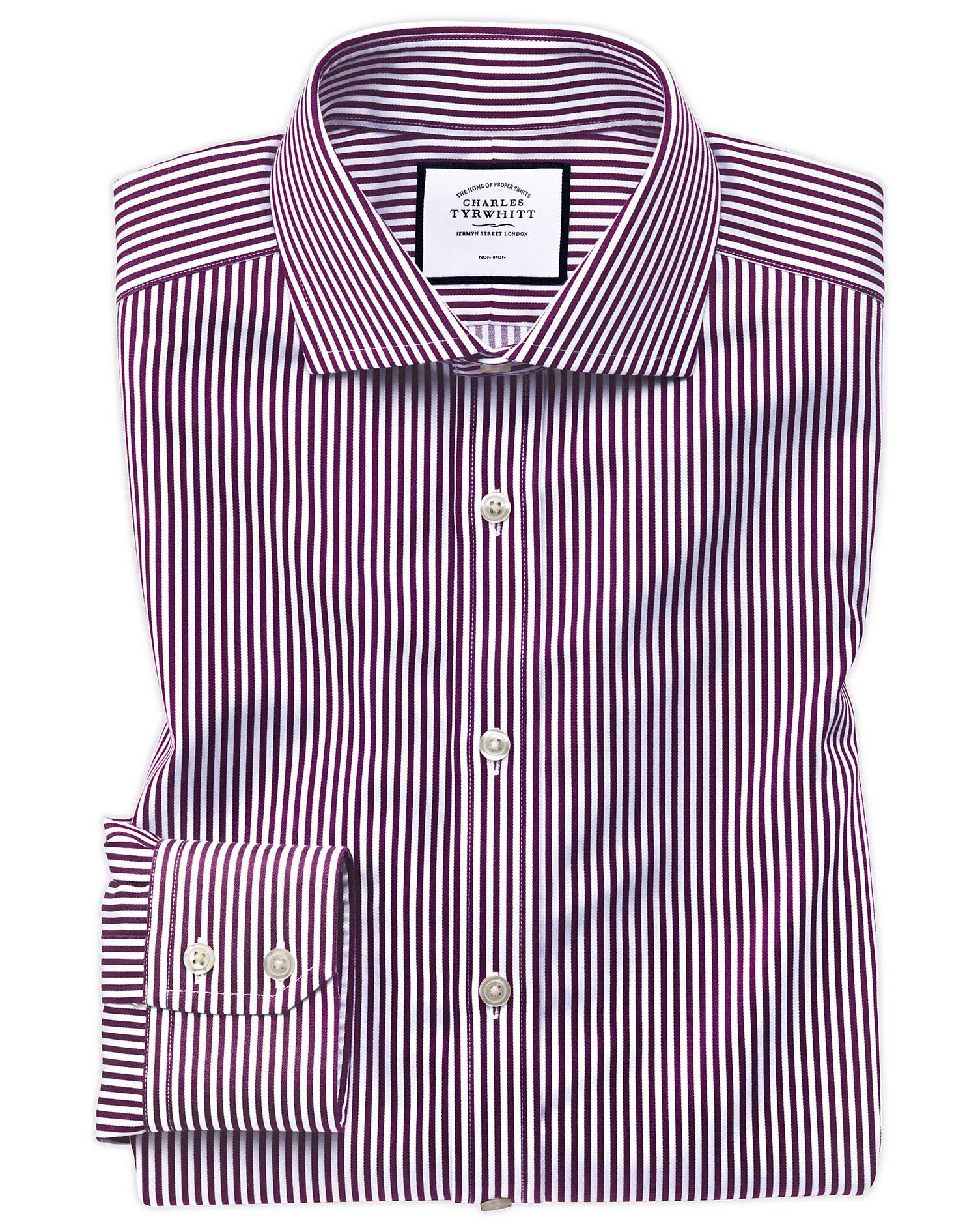 Extra Slim Fit Non-Iron Cutaway Collar Berry Twill Stripe Cotton Formal Shirt Single Cuff Size 15.5/
