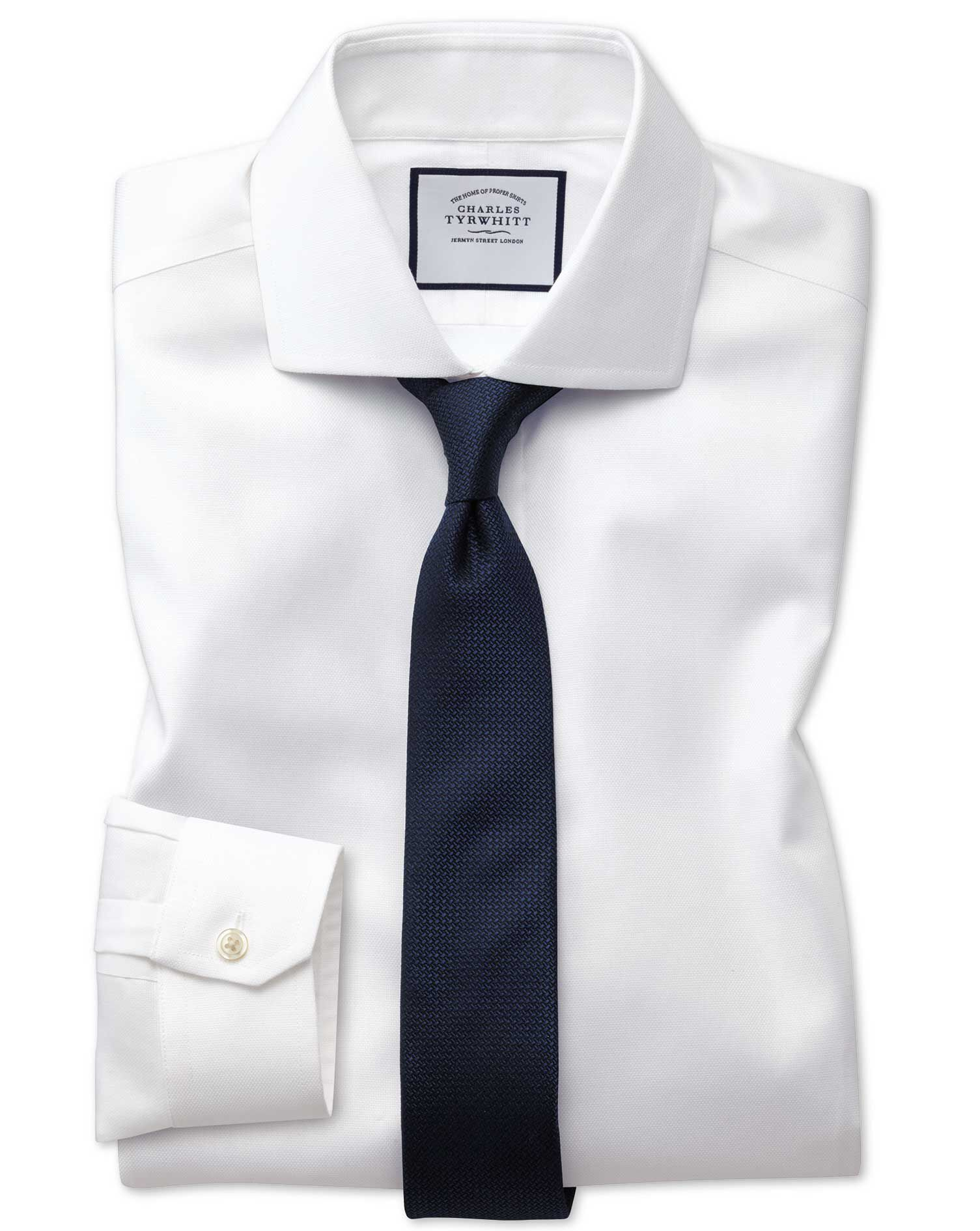 Super Slim Fit Non-Iron Cutaway Collar White Oxford Stretch Cotton Formal Shirt Single Cuff Size 15.