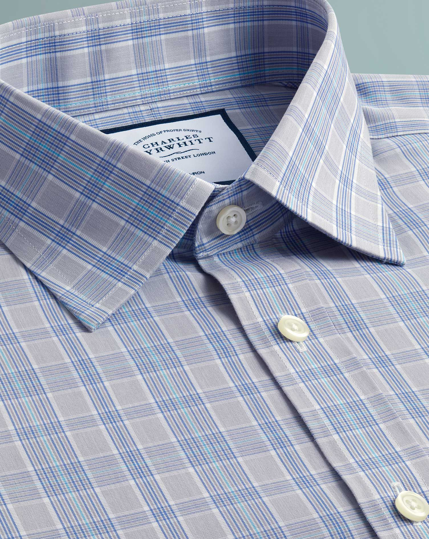 Extra Slim Fit Non-Iron Prince Of Wales Grey and Aqua Cotton Formal Shirt Single Cuff Size 14.5/32 b