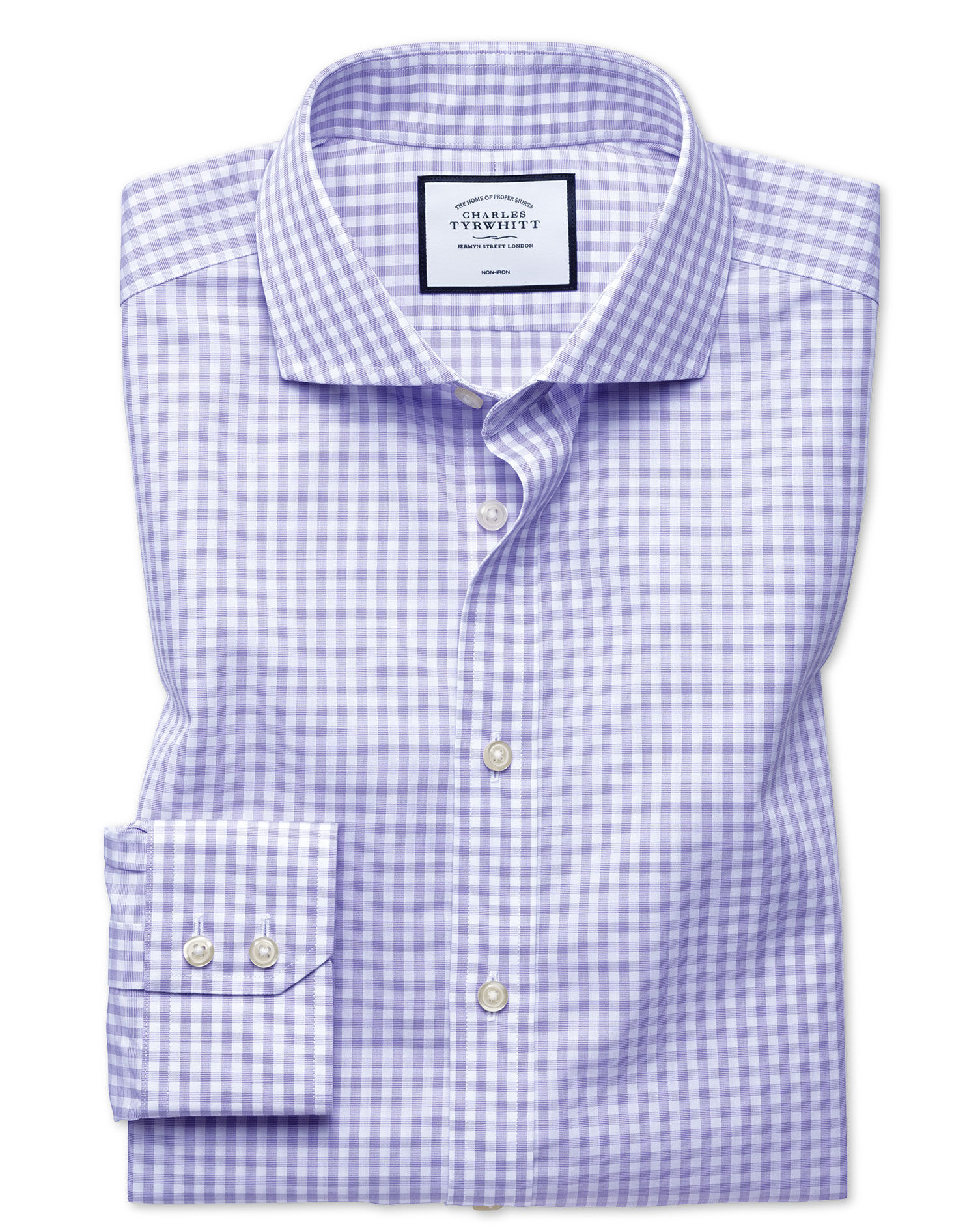 Slim Fit Non-Iton Purple Check Natural Cool Cotton Formal Shirt Single Cuff Size 17/34 by Charles Ty