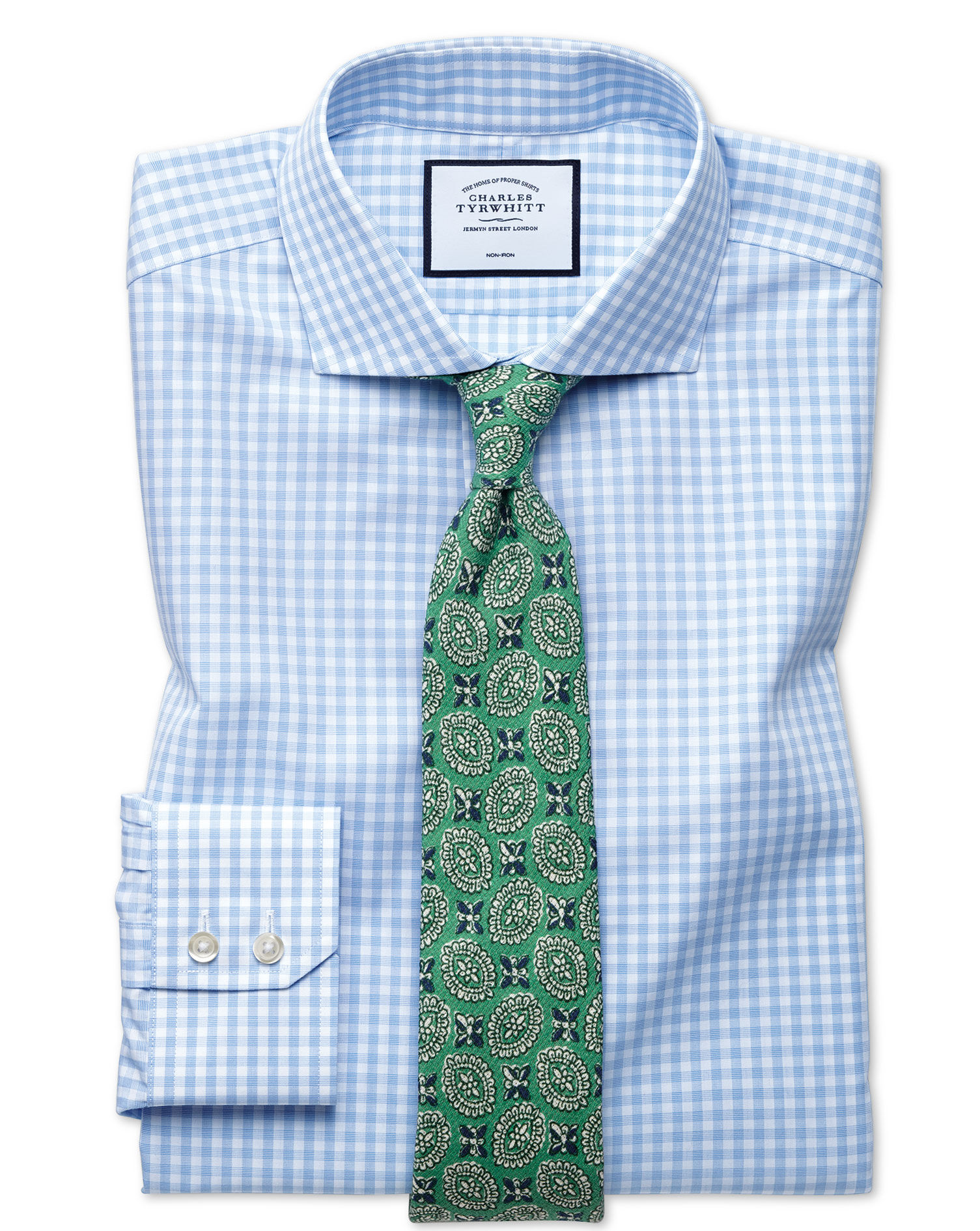 Extra Slim Fit Non-Iron Sky Blue Check Natural Cool Cotton Formal Shirt Single Cuff Size 16/34 by Ch