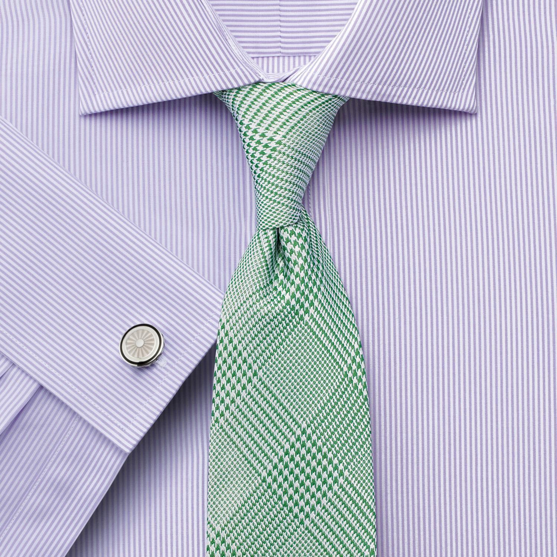 Classic Fit Semi-Cutaway Collar Egyptian Cotton Bengal Stripe Lilac Formal Shirt Double Cuff Size 16