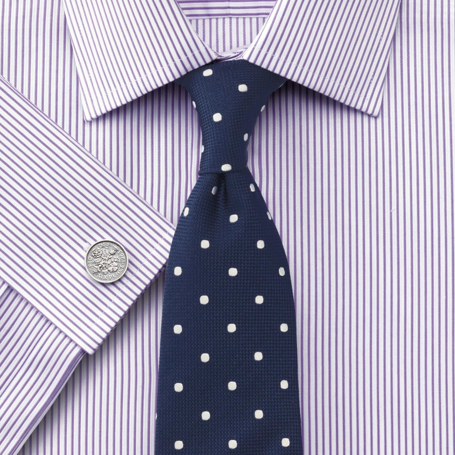 Classic Fit Bedford Raised Stripe Lilac Cotton Formal Shirt Single Cuff Size 18/37 by Charles Tyrwhi