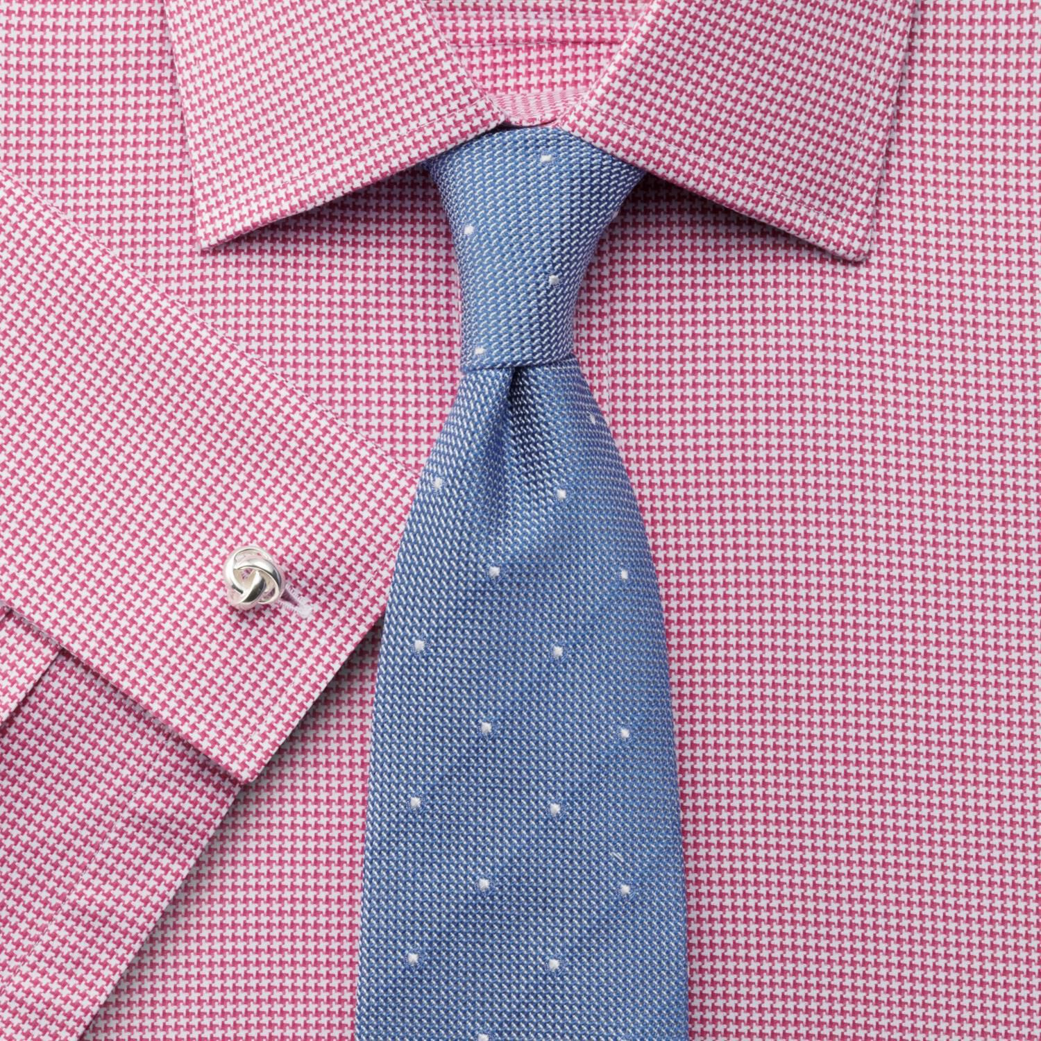 Classic Fit Egyptian Cotton Puppytooth Pink Formal Shirt Double Cuff Size 17/36 by Charles Tyrwhitt