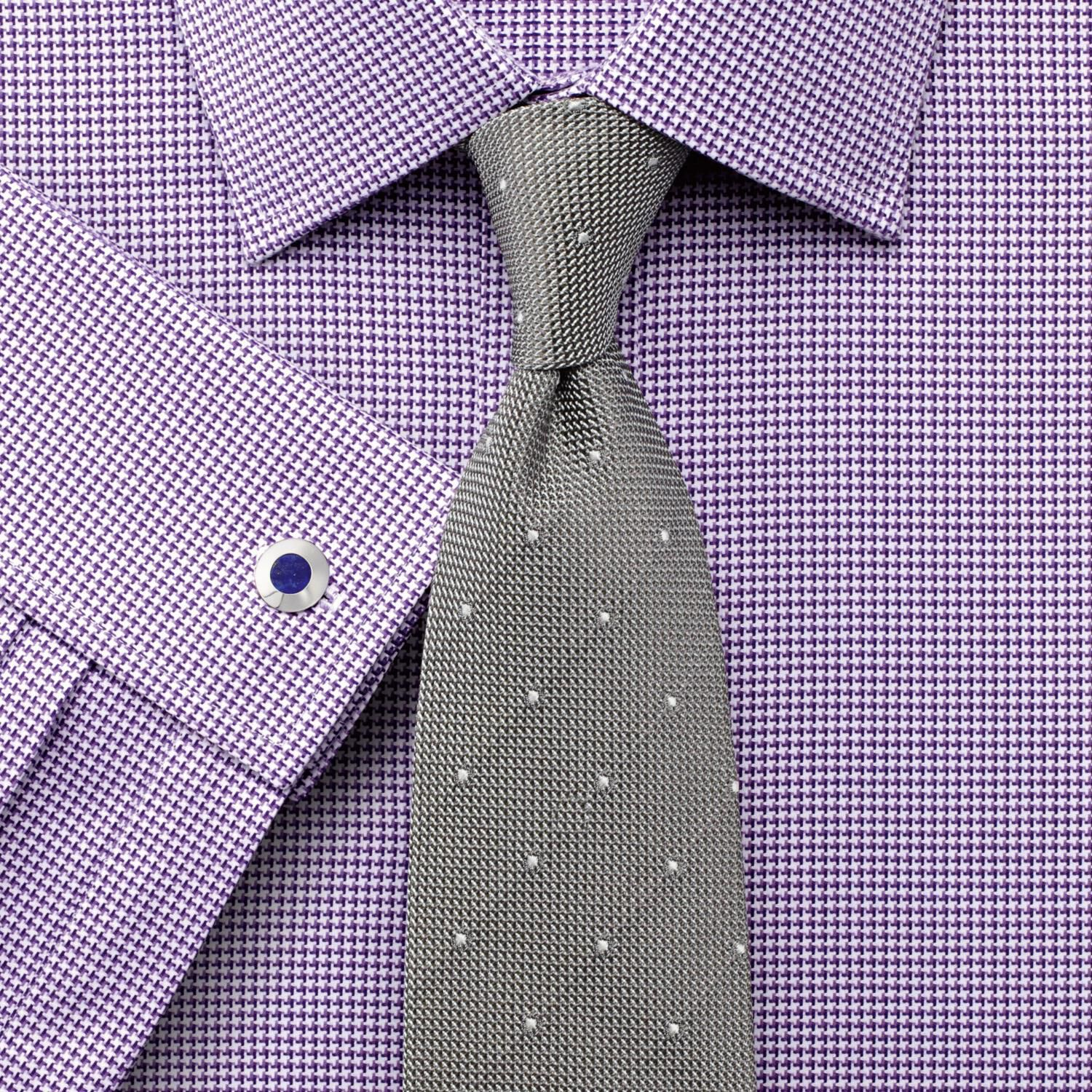 Classic Fit Egyptian Cotton Puppytooth Purple Formal Shirt Single Cuff Size 15/35 by Charles Tyrwhit