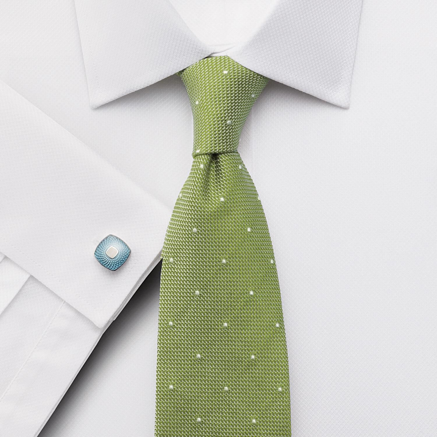 Classic Fit Egyptian Cotton Puppytooth White Formal Shirt Single Cuff Size 15.5/37 by Charles Tyrwhi