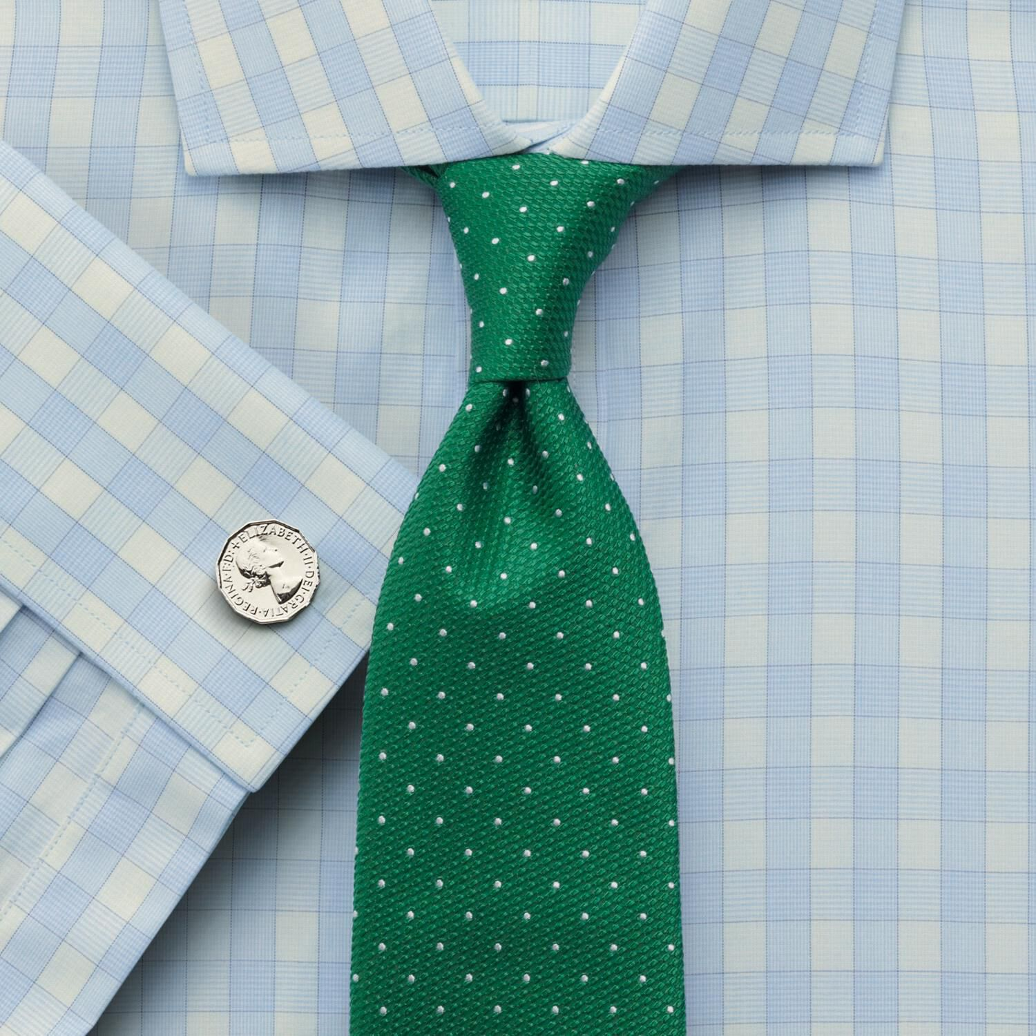 Classic Fit Cutaway Collar City Gingham Green Cotton Formal Shirt Double Cuff Size 15.5/36 by Charle