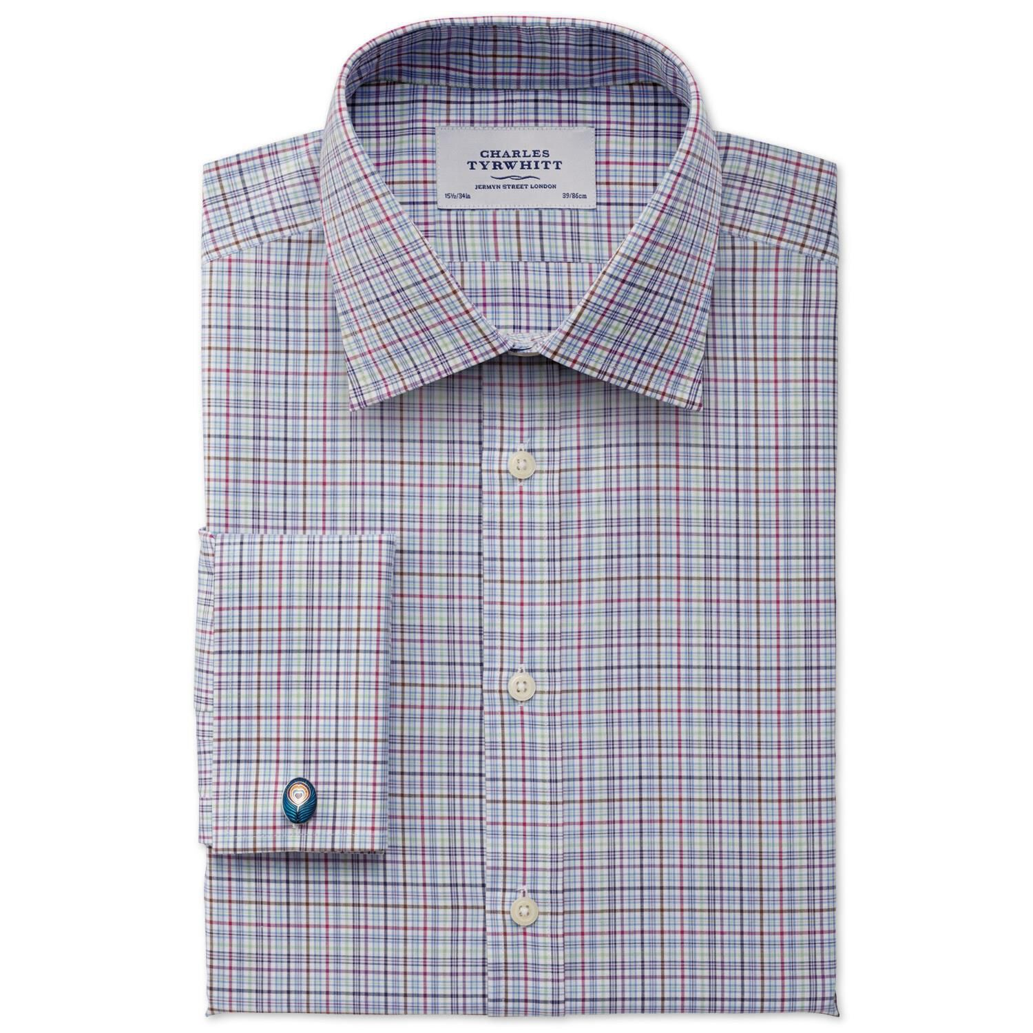 Classic Fit Jermyn Street Check Sky Blue Egyptian Cotton Formal Shirt Double Cuff Size 15.5/37 by Ch