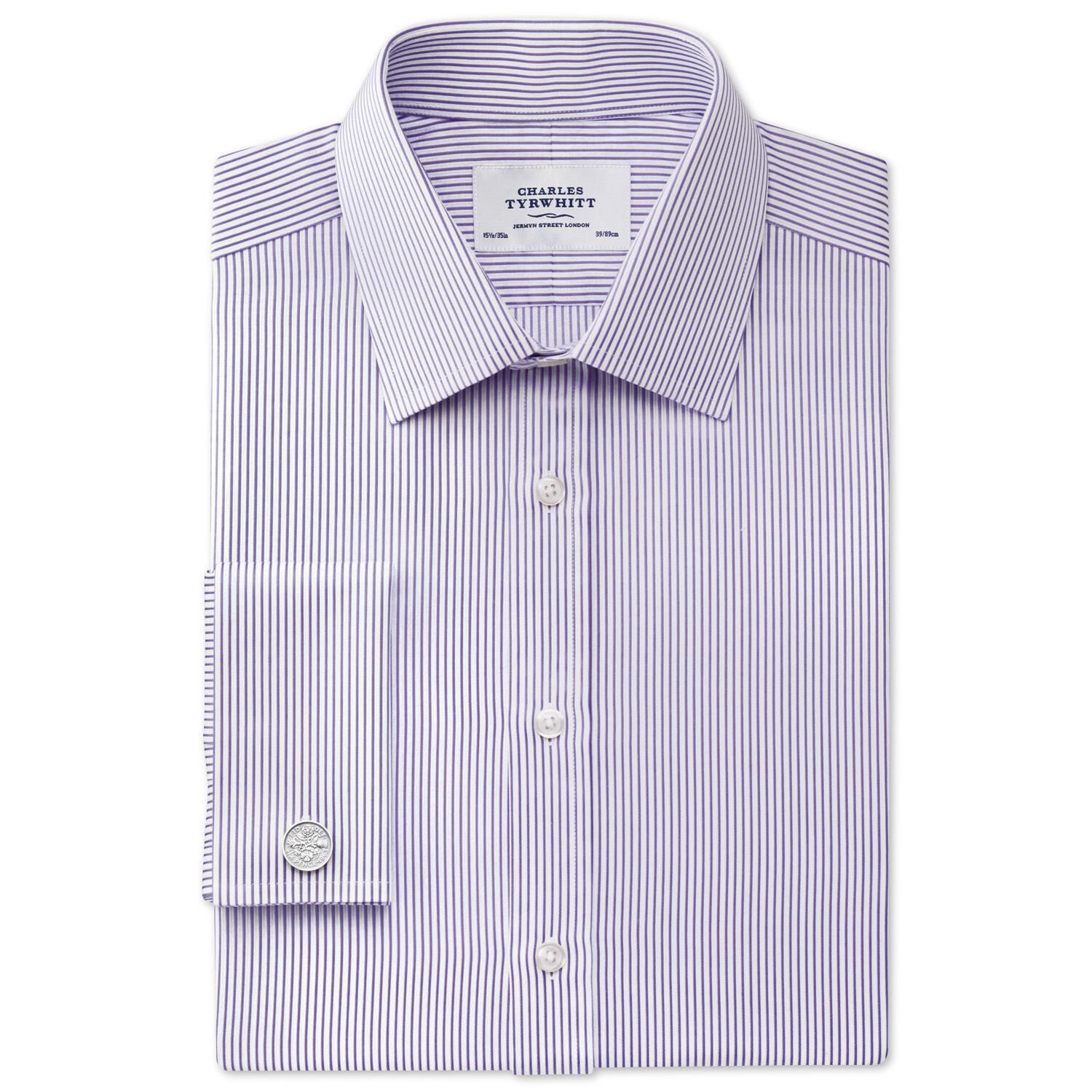 Extra Slim Fit Bedford Raised Stripe Lilac Cotton Formal Shirt Single Cuff Size 15.5/32 by Charles T
