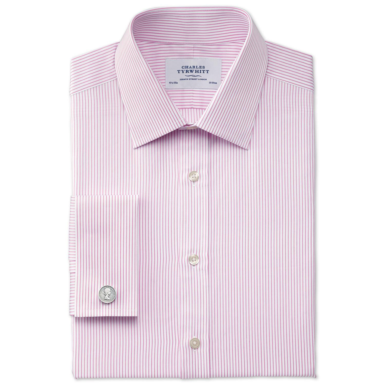 Extra Slim Fit Bedford Raised Stripe Pink Cotton Formal Shirt Single Cuff Size 15.5/37 by Charles Ty