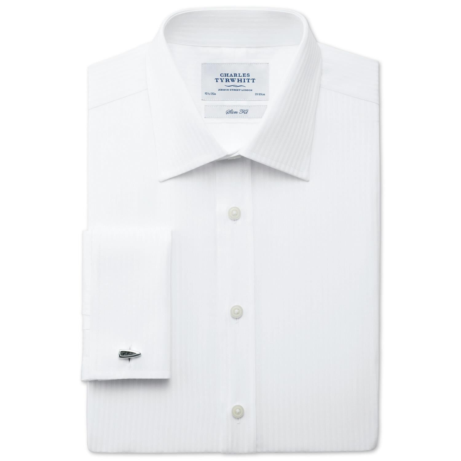 Slim Fit Stripe White Satin Egyptian Cotton Formal Shirt Double Cuff Size 16.5/35 by Charles Tyrwhit