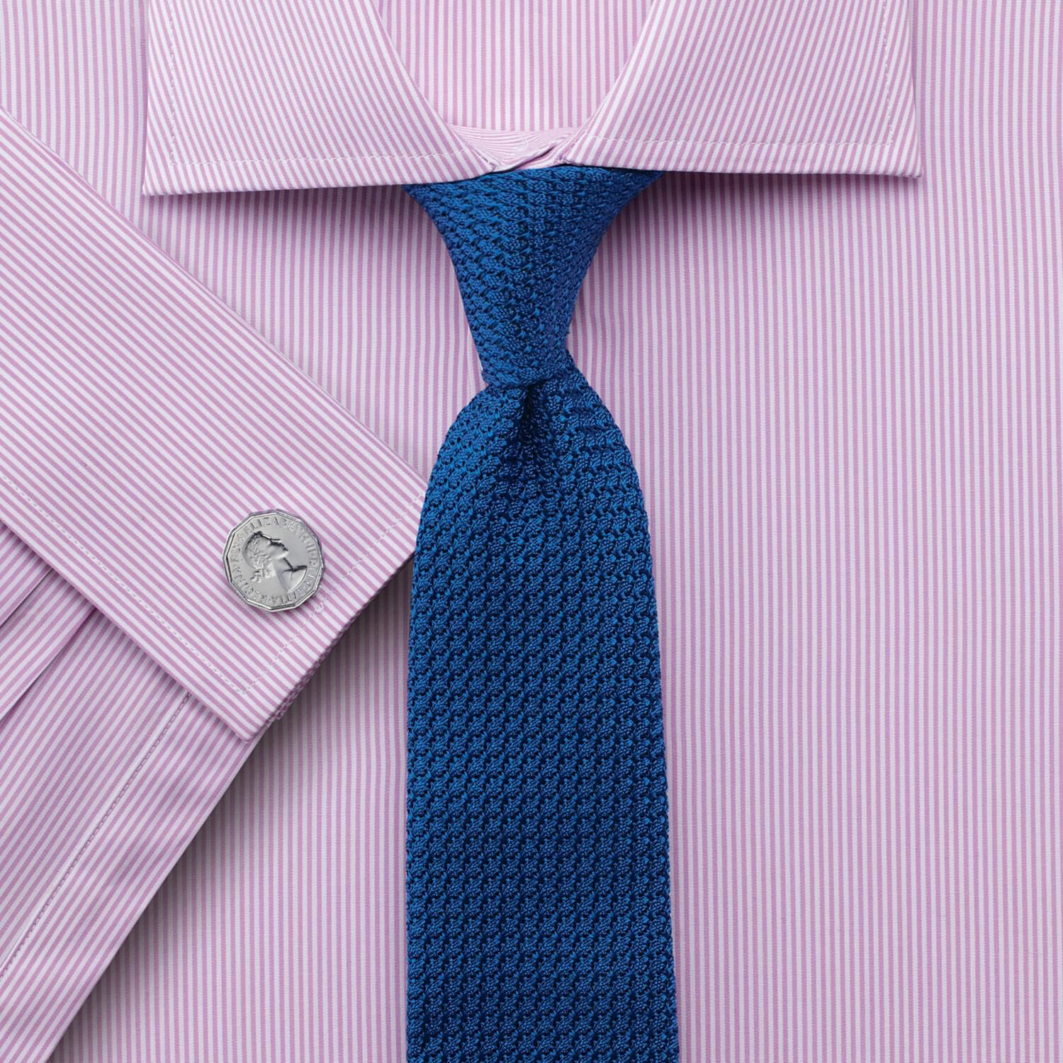 Extra Slim Fit Semi-Cutaway Collar Egyptian Cotton Bengal Stripe Pink Formal Shirt Double Cuff Size