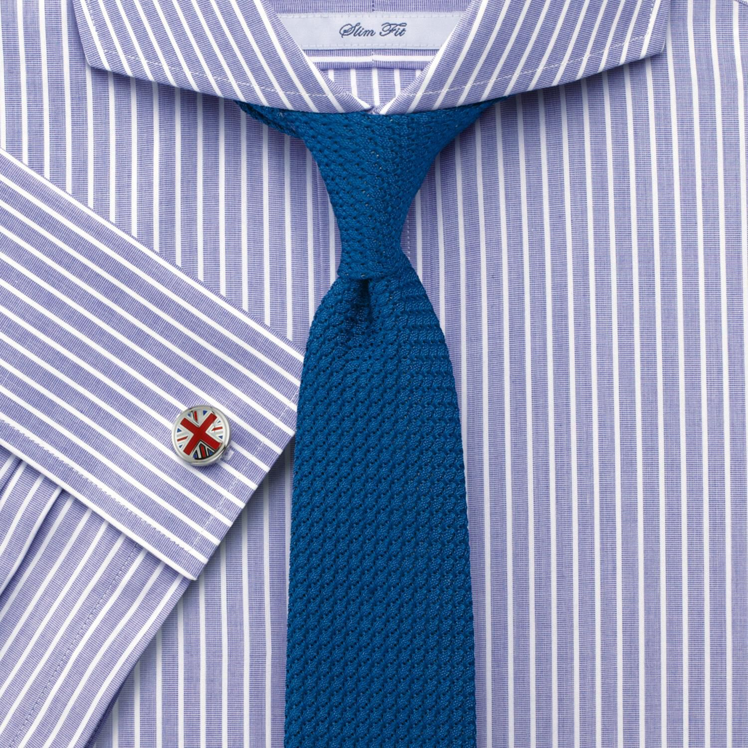 Slim Fit Extreme Cutaway Collar End-On-End Stripe Lilac Cotton Formal Shirt Double Cuff Size 17/34 b