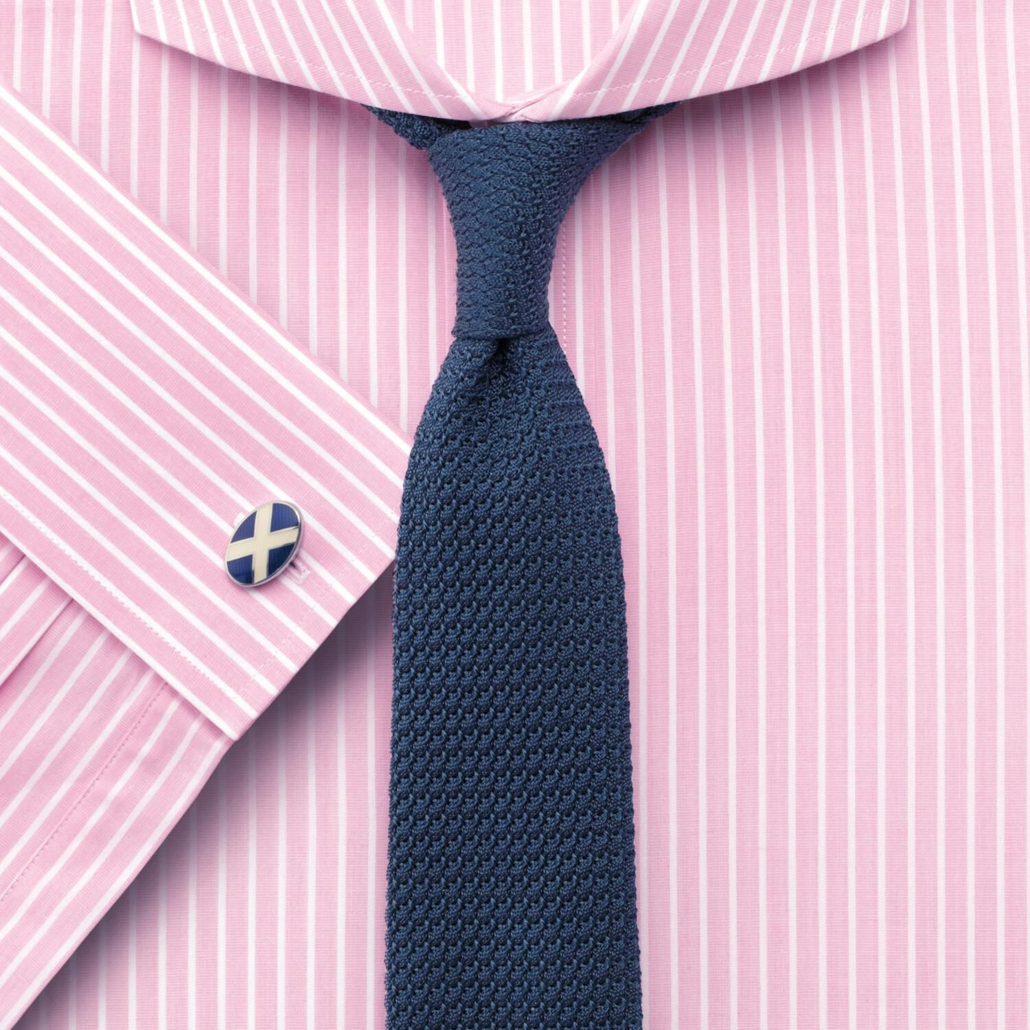 Slim Fit Extreme Cutaway Collar End-On-End Stripe Pink Cotton Formal Shirt Single Cuff Size 18/36 by