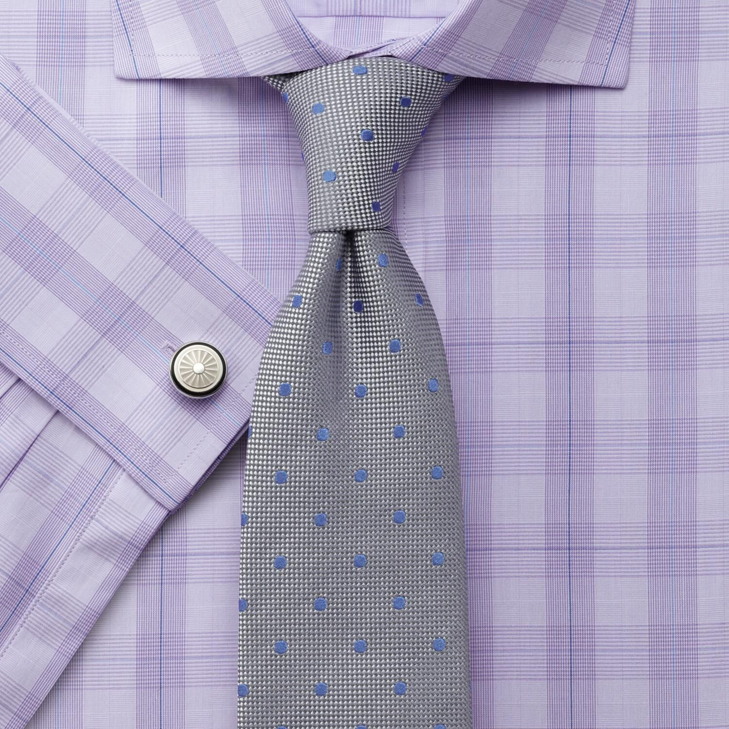 Slim Fit Prince Of Wales Semi-Cutaway Collar Check Lilac Cotton Formal Shirt Single Cuff Size 17/36