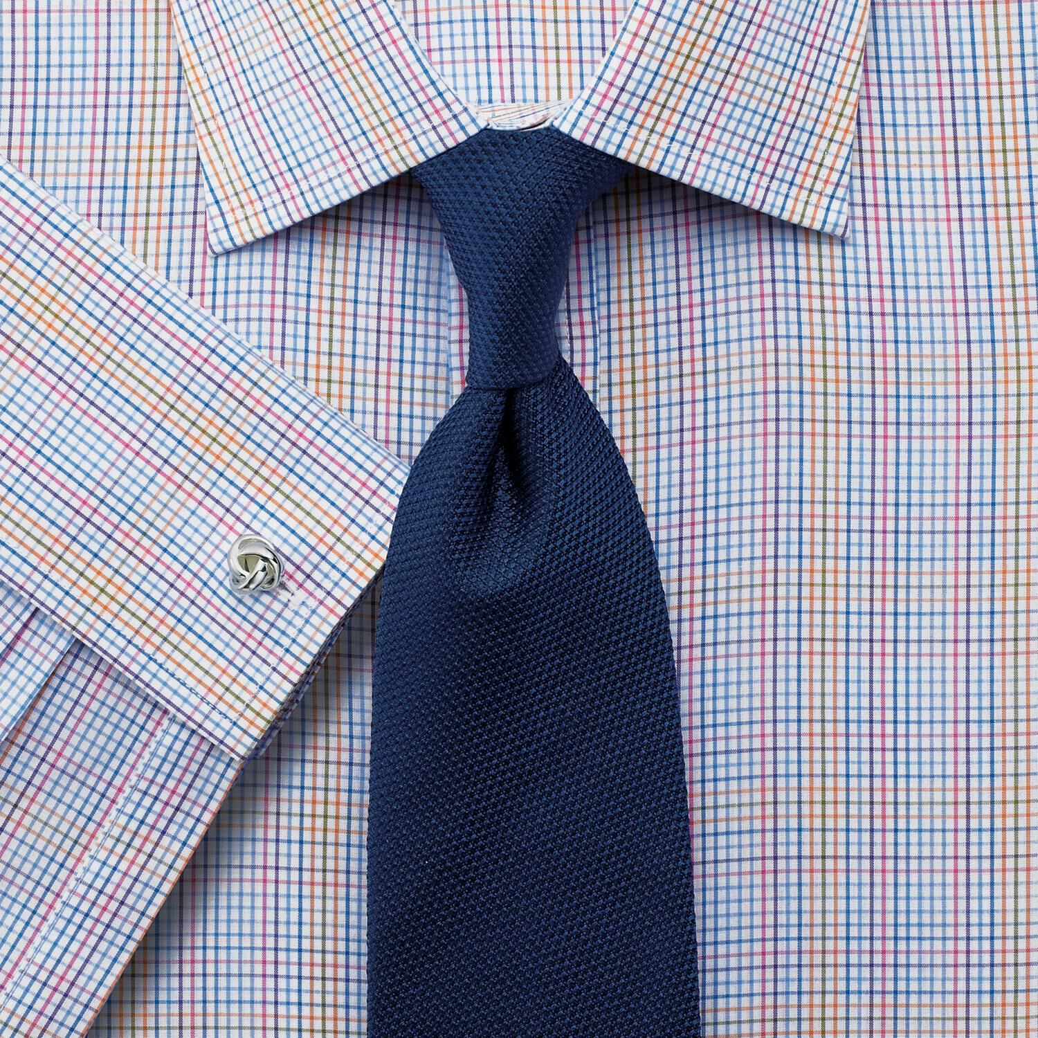 Slim Fit Multi Check Egyptian Cotton Formal Shirt Double Cuff Size 15.5/36 by Charles Tyrwhitt