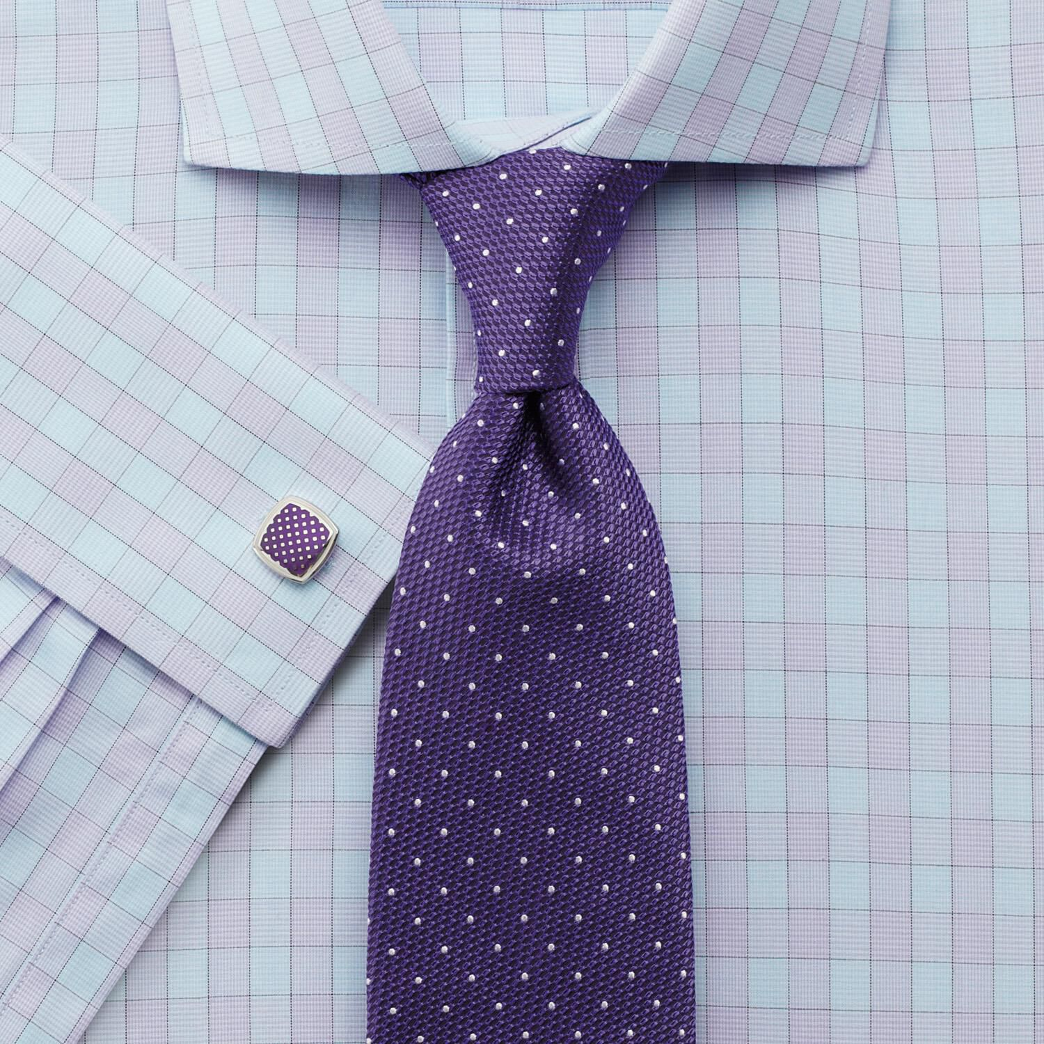Slim Fit City Gingham Cutaway Lilac Cotton Formal Shirt Single Cuff Size 17/36 by Charles Tyrwhitt