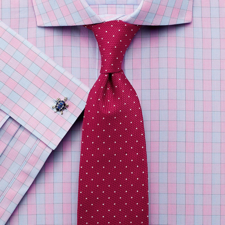 Slim Fit City Gingham Cutaway Pink Cotton Formal Shirt Single Cuff Size 14.5/33 by Charles Tyrwhitt