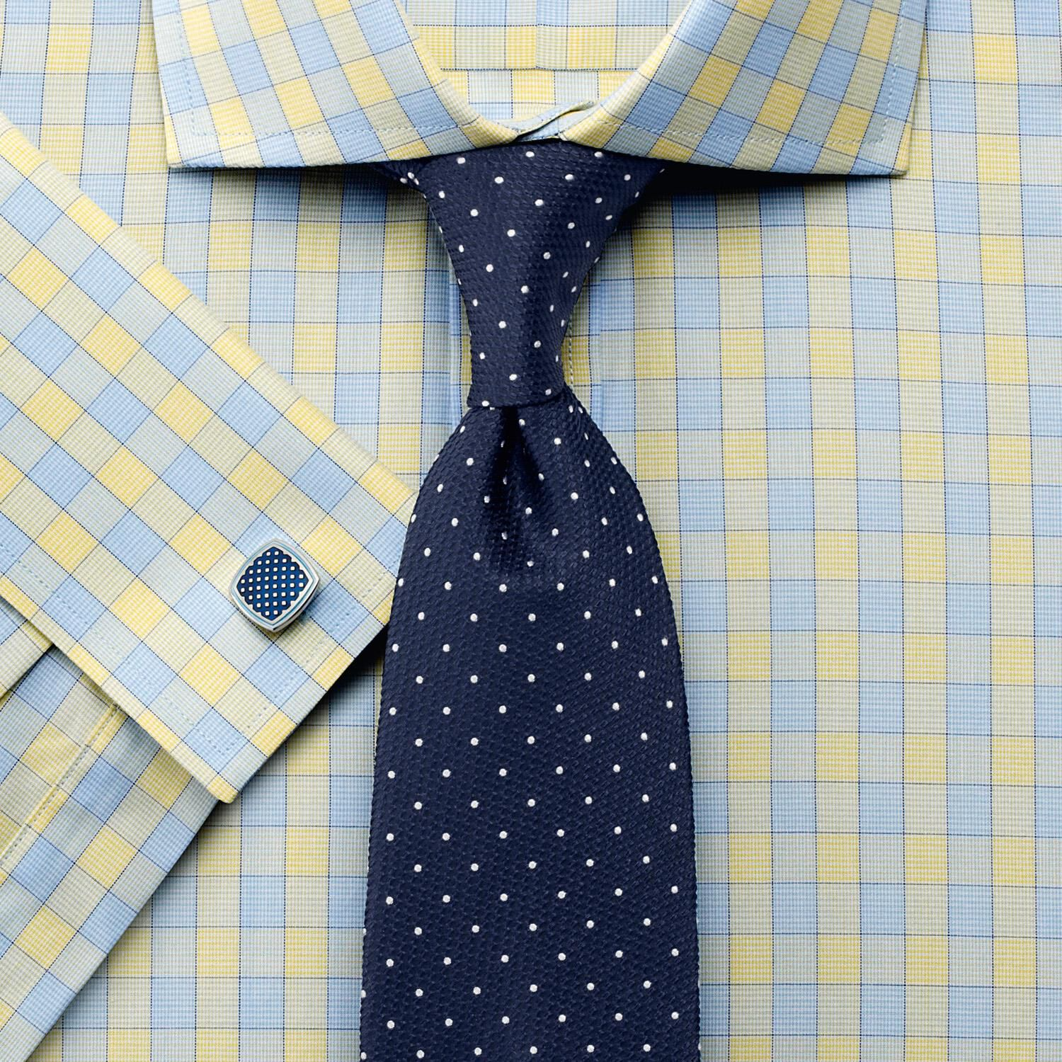 Slim Fit City Gingham Cutaway Yellow Cotton Formal Shirt Double Cuff Size 16.5/35 by Charles Tyrwhit