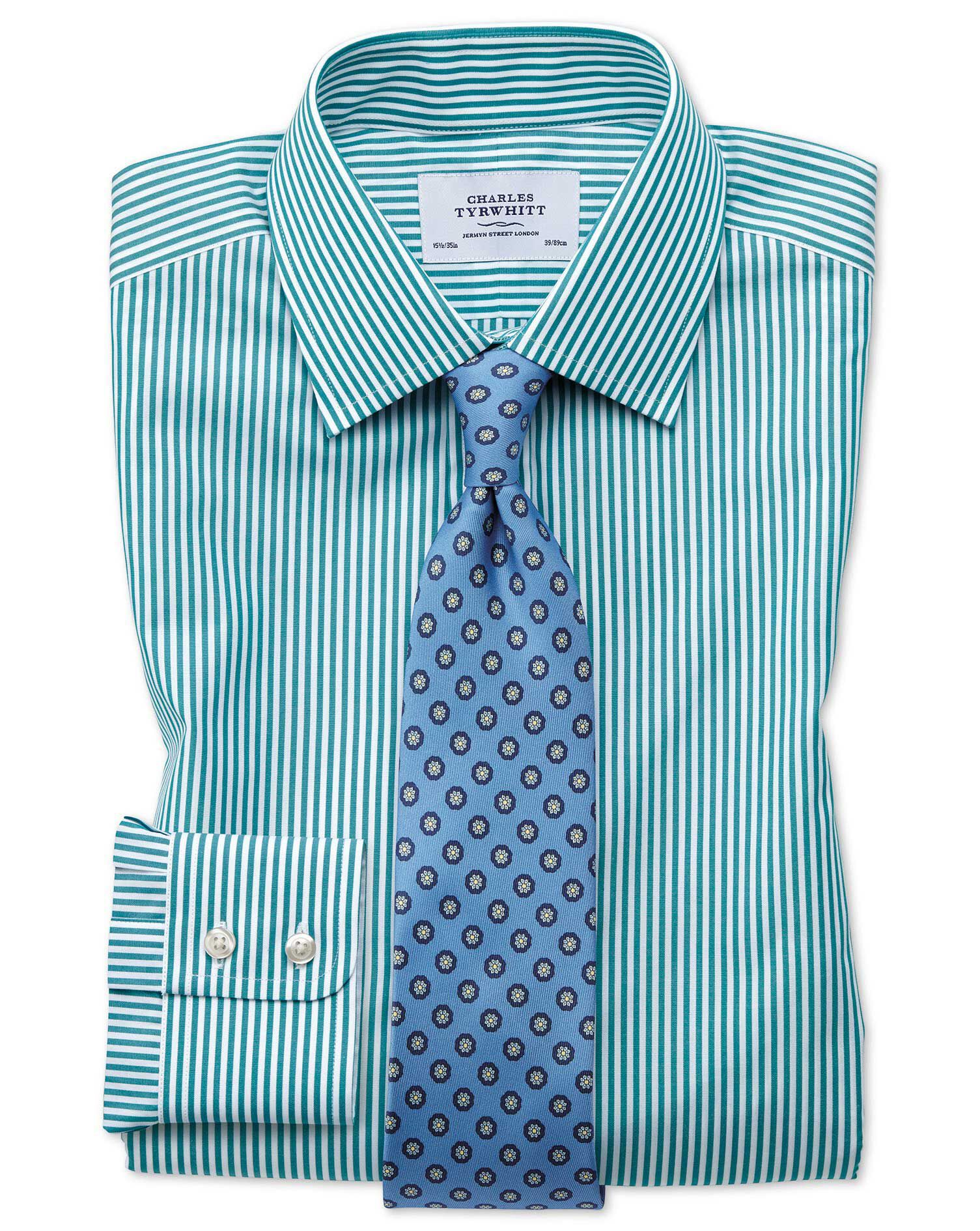 Classic Fit Bengal Stripe Green Cotton Formal Shirt Double Cuff Size 17/37 by Charles Tyrwhitt