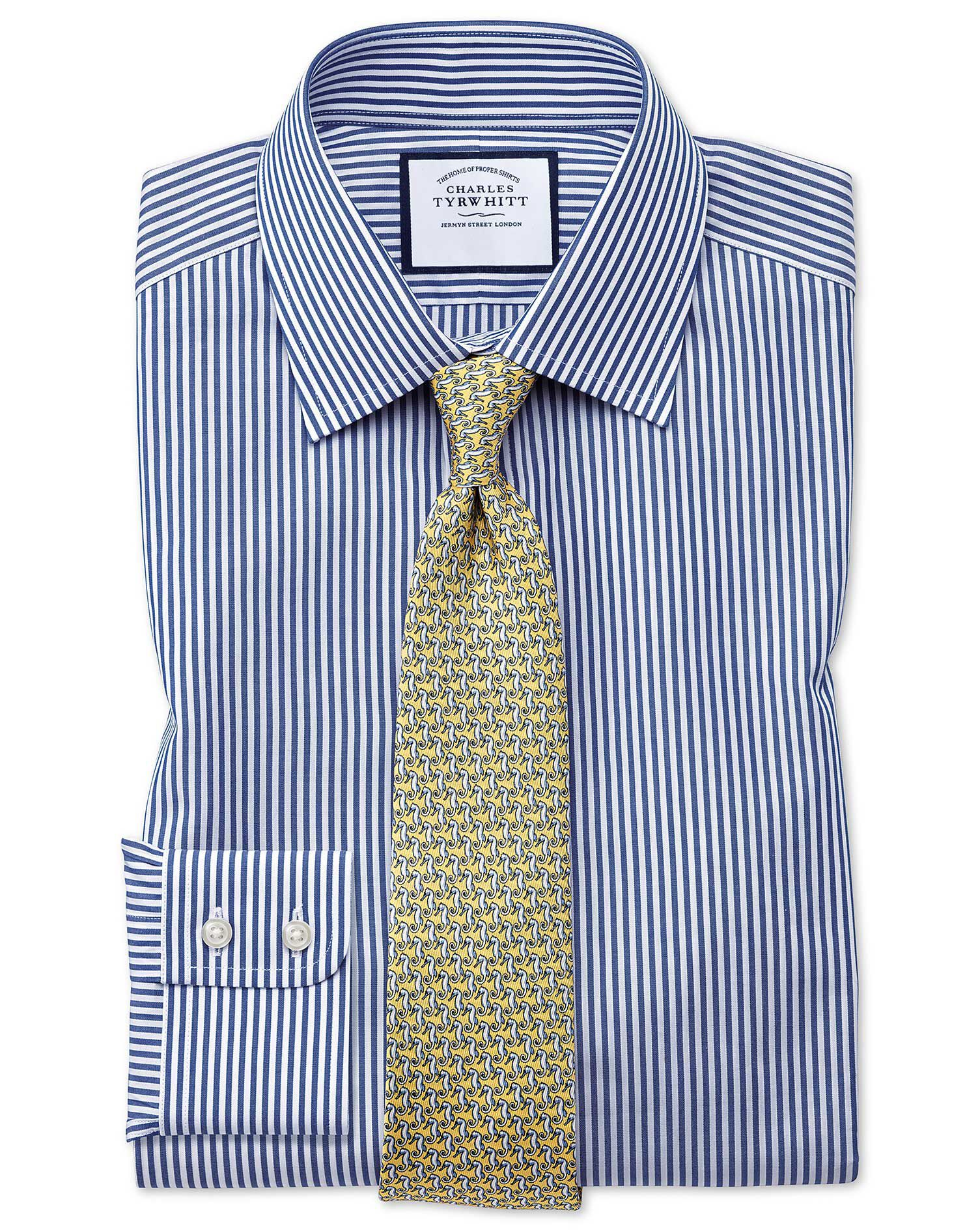 Slim Fit Bengal Stripe Navy Blue Cotton Formal Shirt Double Cuff Size 15.5/33 by Charles Tyrwhitt