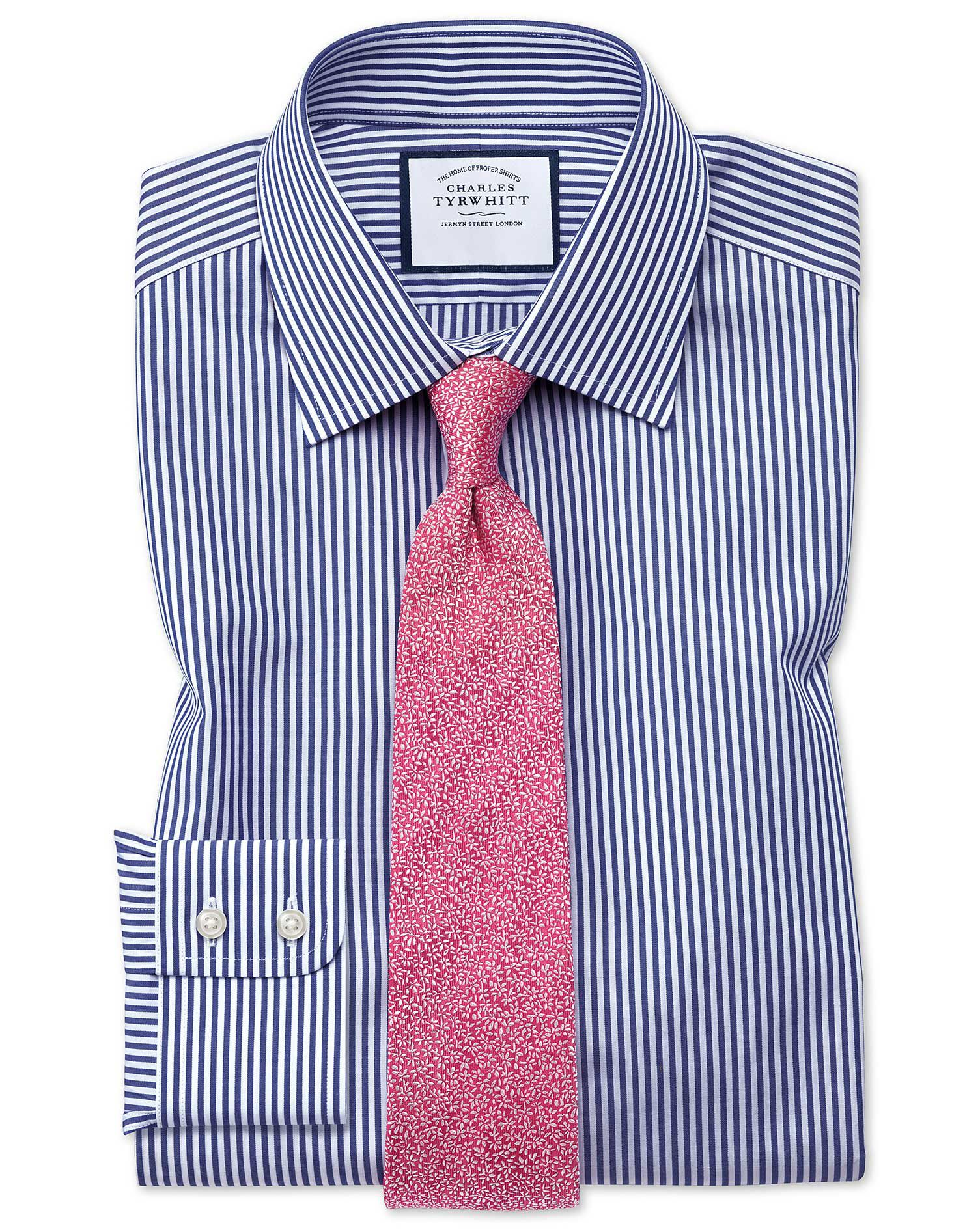 Extra Slim Fit Bengal Stripe Navy Blue Cotton Formal Shirt Double Cuff Size 14.5/32 by Charles Tyrwh