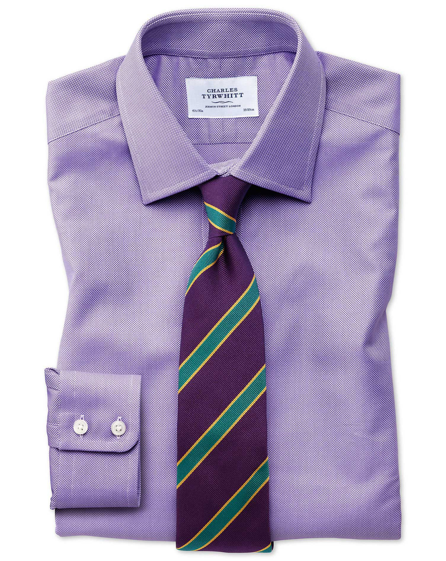 Slim Fit Egyptian Cotton Royal Oxford Lilac Formal Shirt Double Cuff Size 15/34 by Charles Tyrwhitt