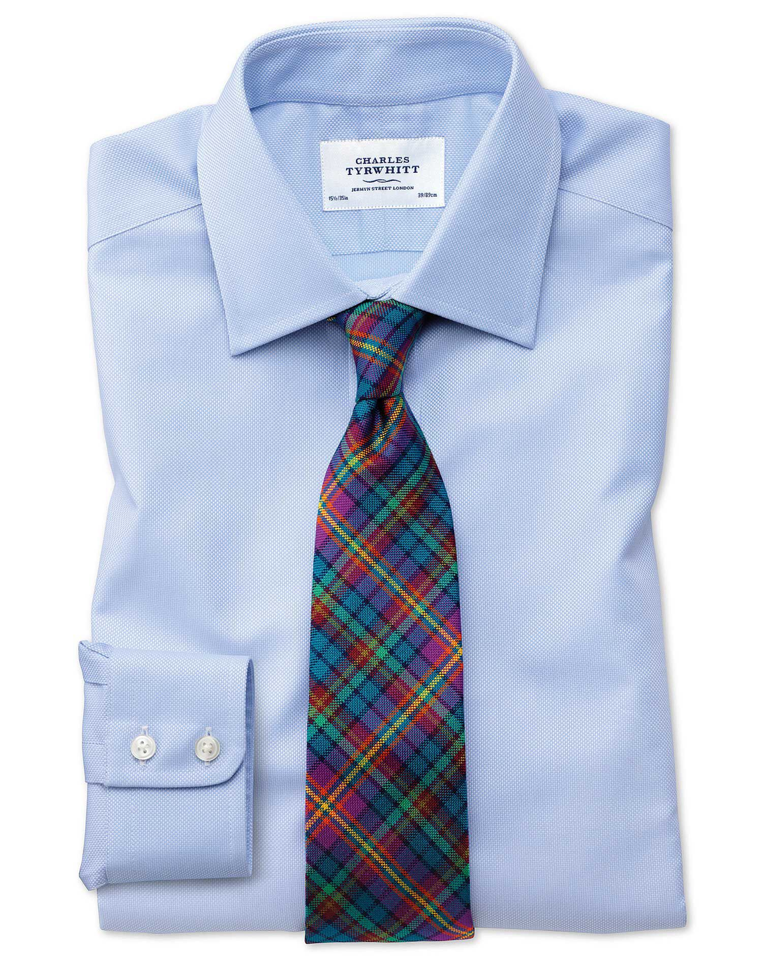 Slim Fit Egyptian Cotton Royal Oxford Sky Blue Formal Shirt Single Cuff Size 15.5/37 by Charles Tyrw