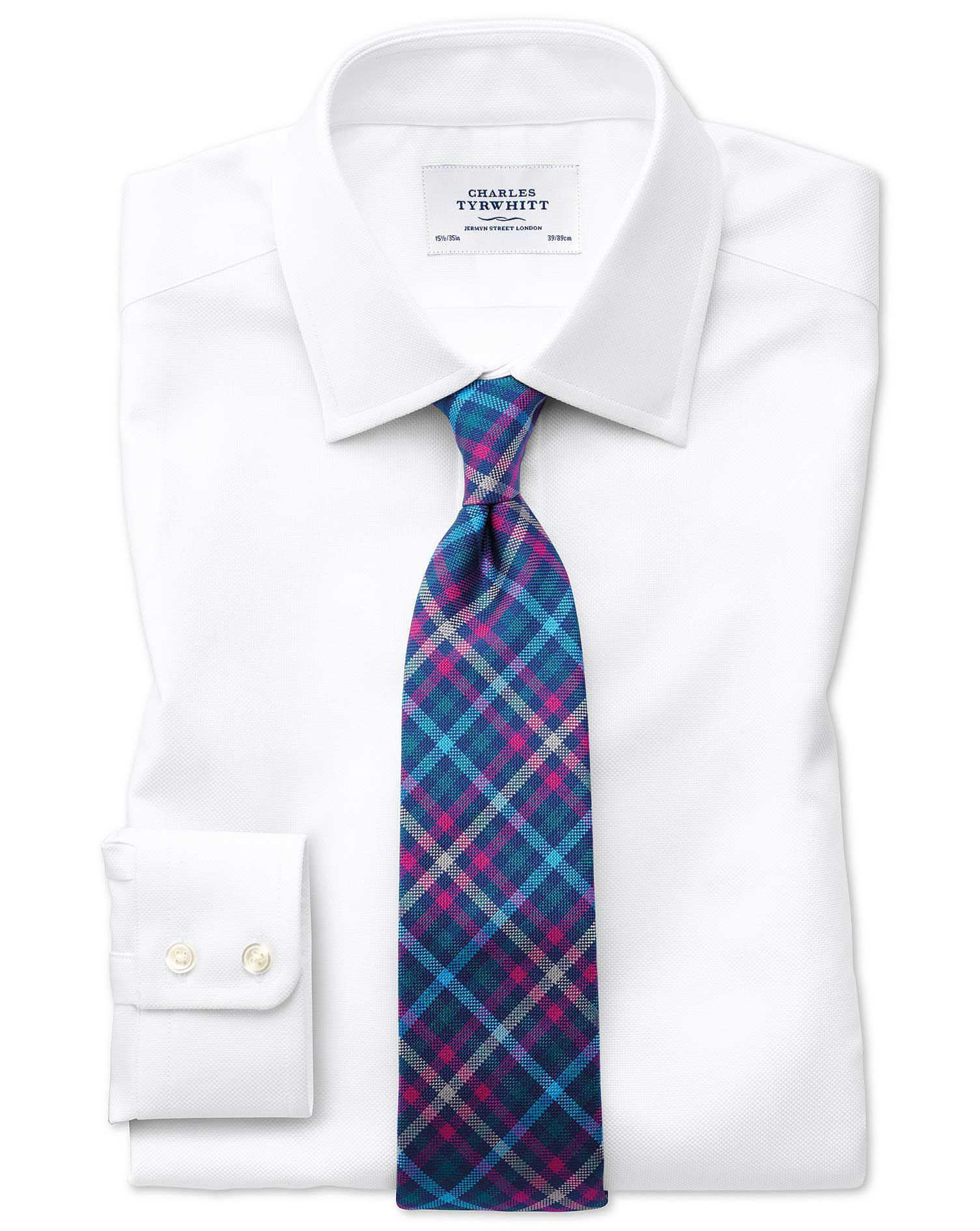 Slim Fit Egyptian Cotton Royal Oxford White Formal Shirt Double Cuff Size 16/36 by Charles Tyrwhitt