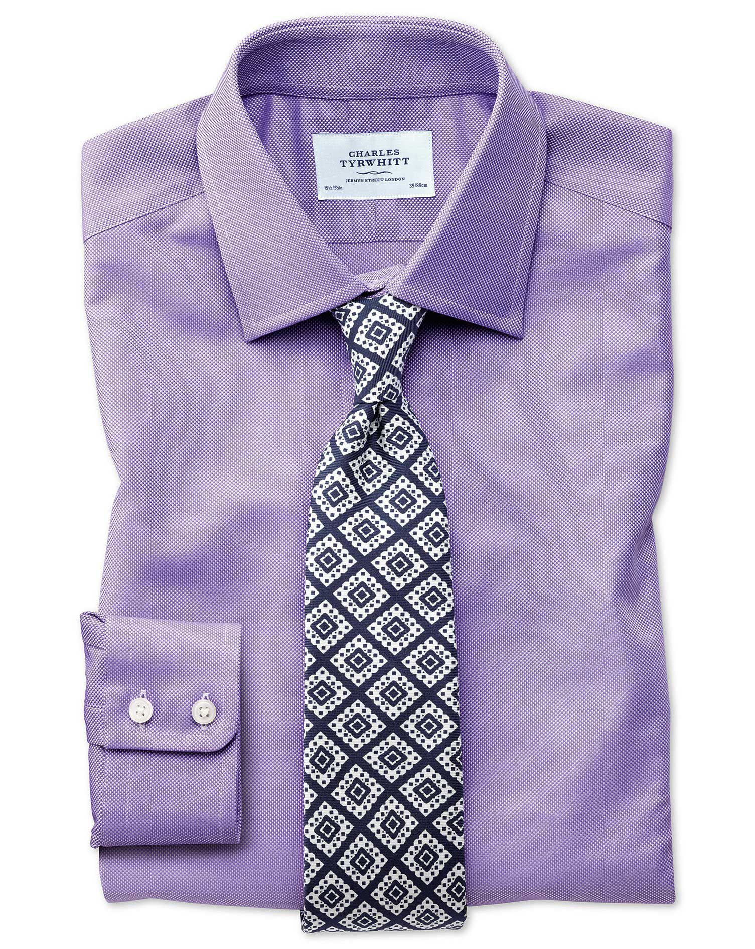 Extra Slim Fit Egyptian Cotton Royal Oxford Lilac Formal Shirt Single Cuff Size 14.5/32 by Charles T