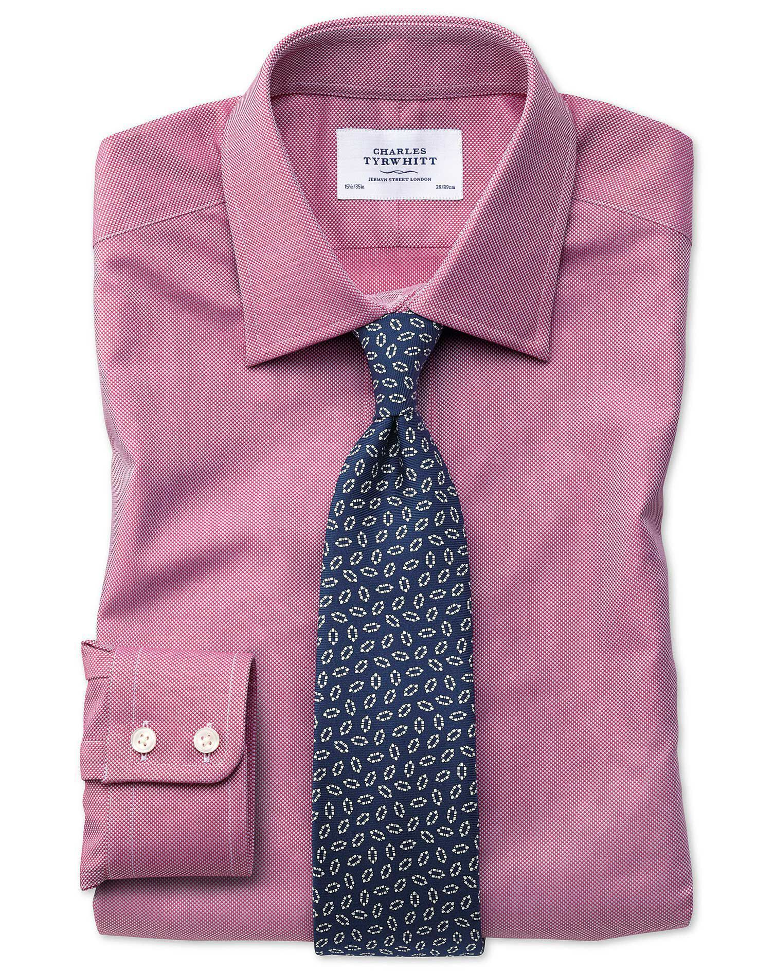 Extra Slim Fit Egyptian Cotton Royal Oxford Magenta Formal Shirt Double Cuff Size 16.5/33 by Charles