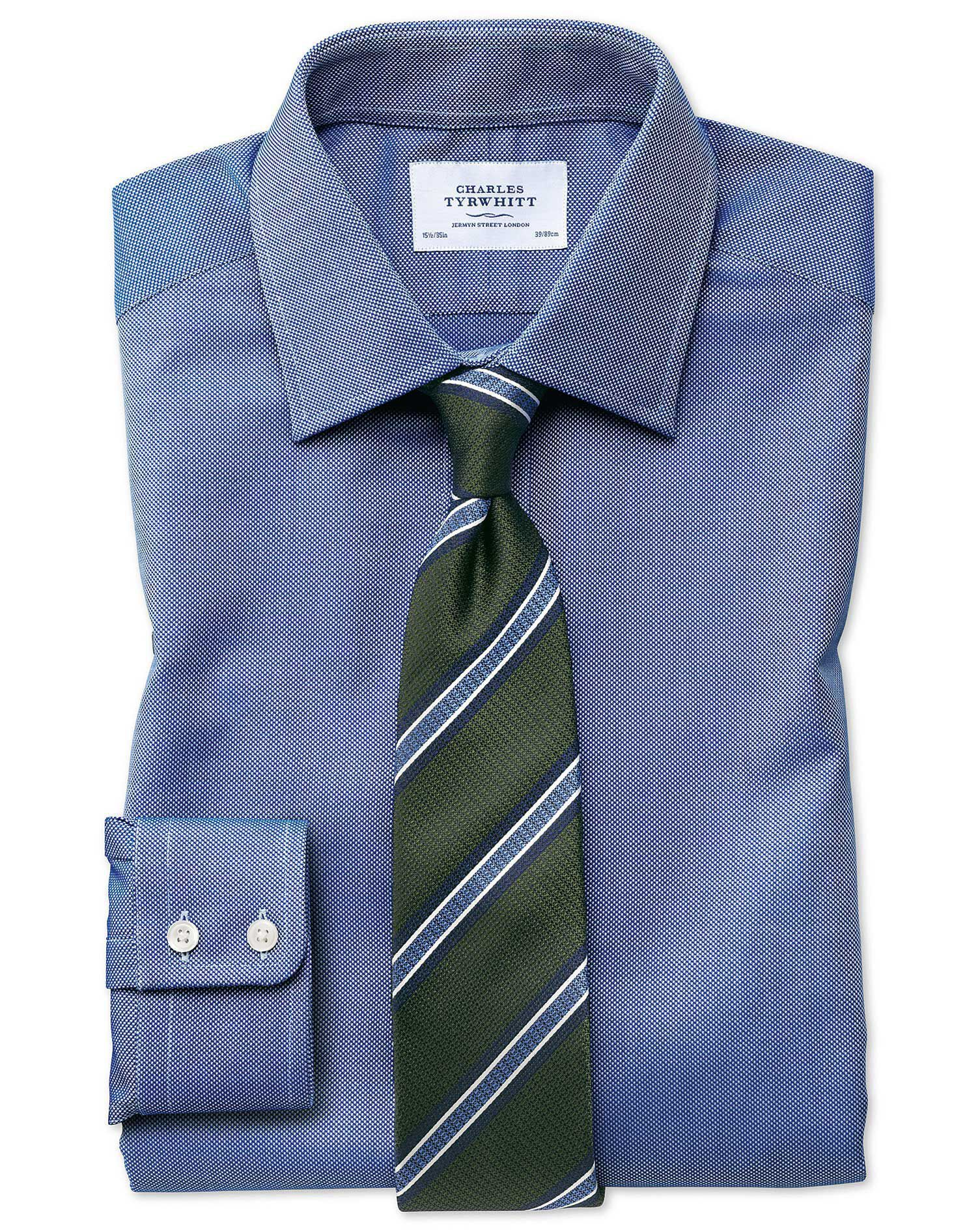 Extra Slim Fit Egyptian Cotton Royal Oxford Royal Blue Formal Shirt Single Cuff Size 17.5/35 by Char