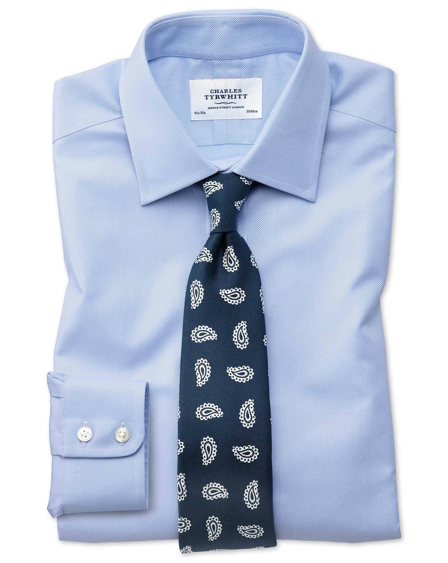 Extra Slim Fit Egyptian Cotton Royal Oxford Sky Blue Formal Shirt Single Cuff Size 17.5/36 by Charle