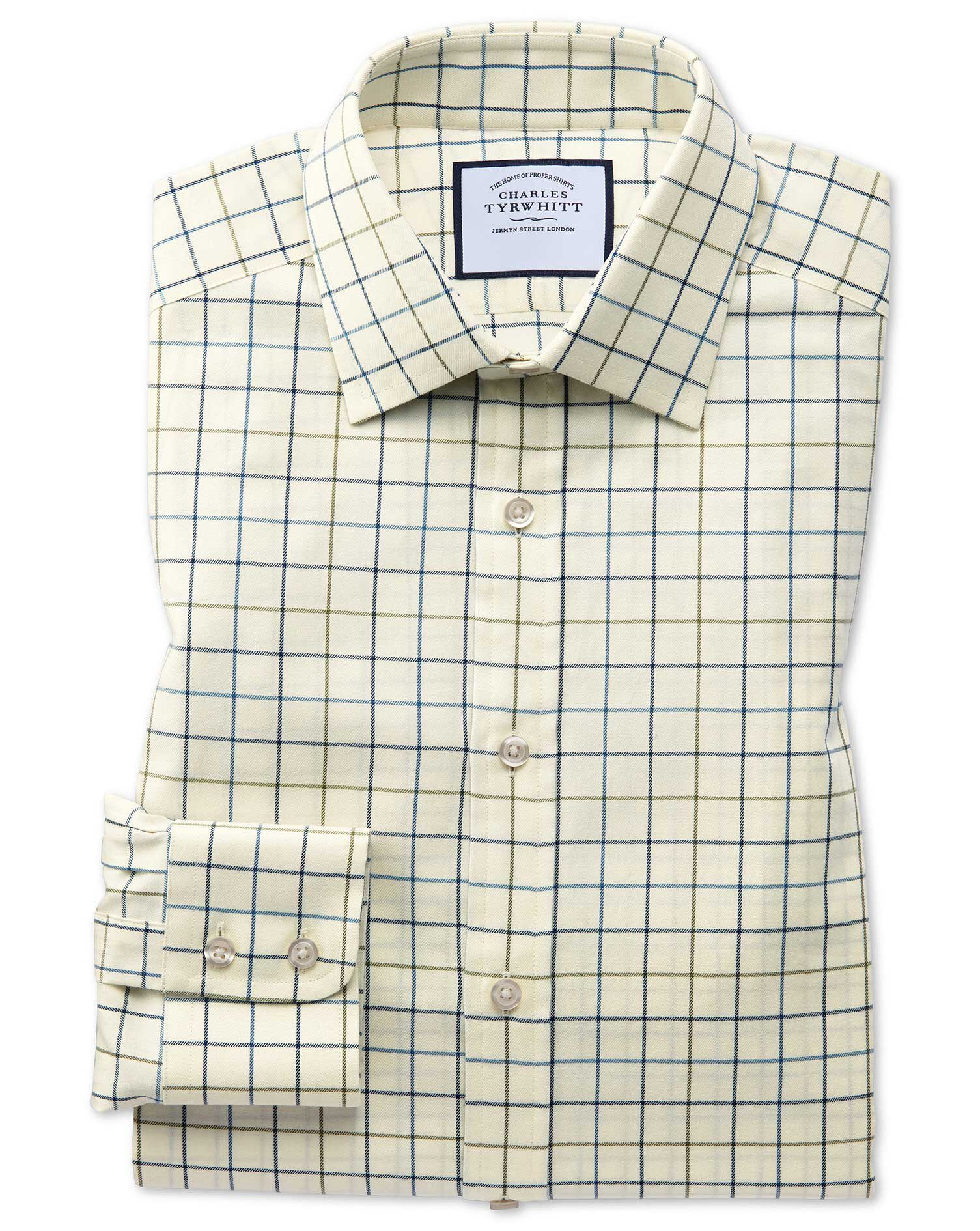 Classic Fit Navy and Green Tattersall Country Check Cotton Formal Shirt Single Cuff Size 17/36 by Ch