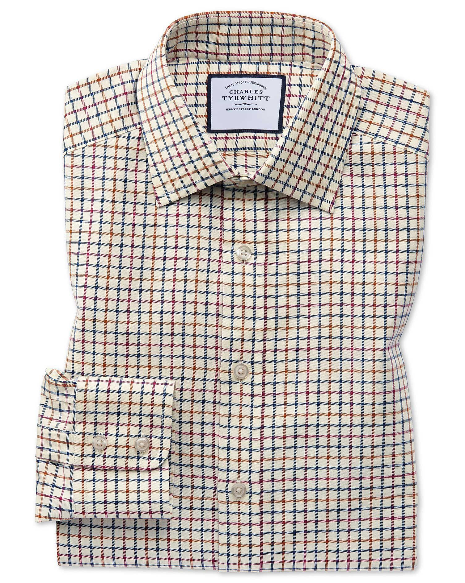 Classic Fit Navy and Berry Country Check Cotton Formal Shirt Single Cuff Size 18/36 by Charles Tyrwh